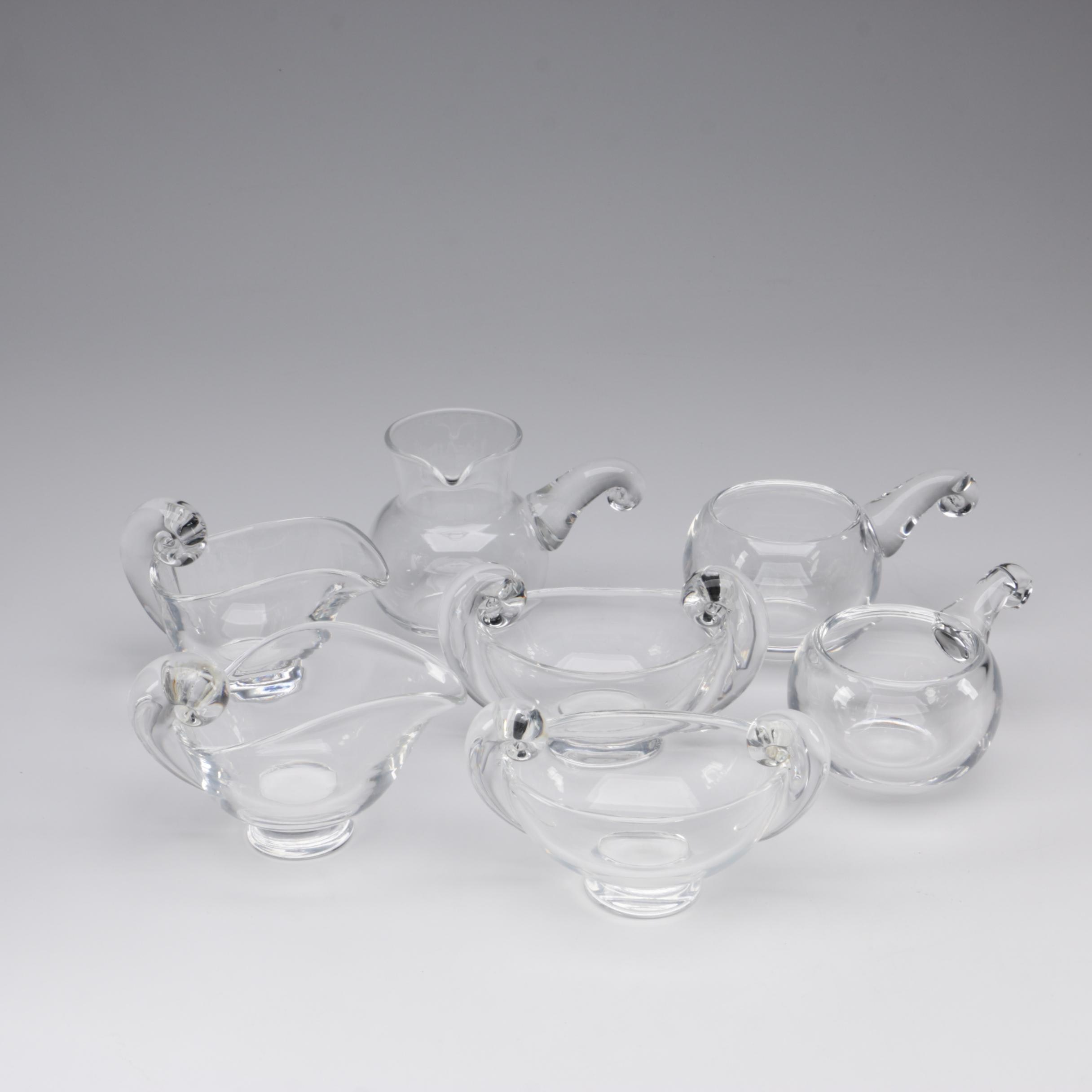 Steuben Art Glass Sugar Bowls and Creamers