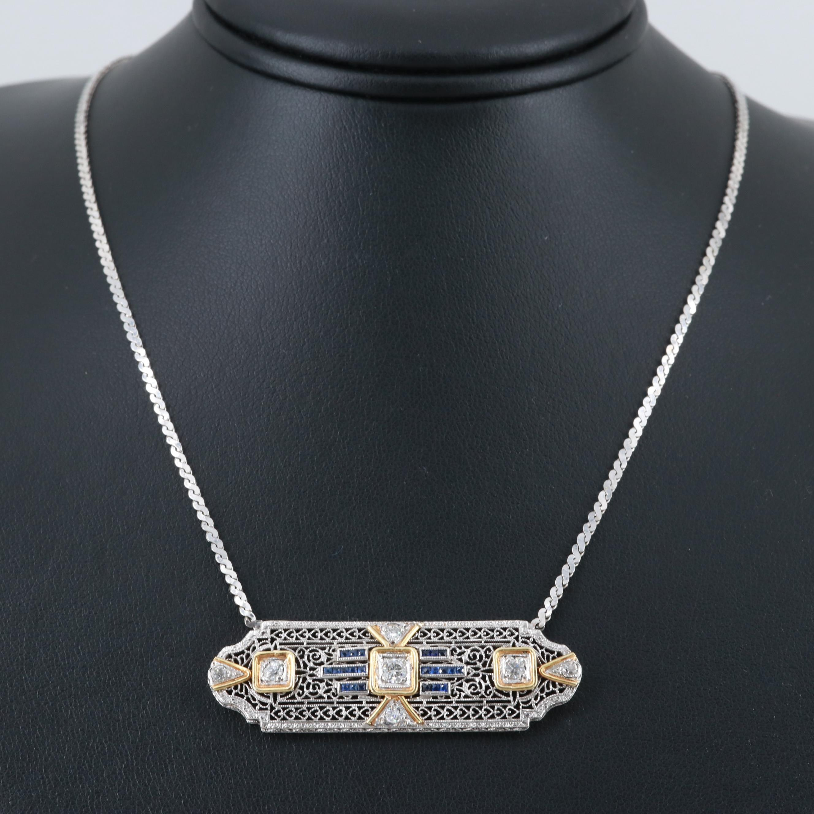 Platinum and 14K Yellow Gold Diamond and Synthetic Sapphire Pendant Necklace