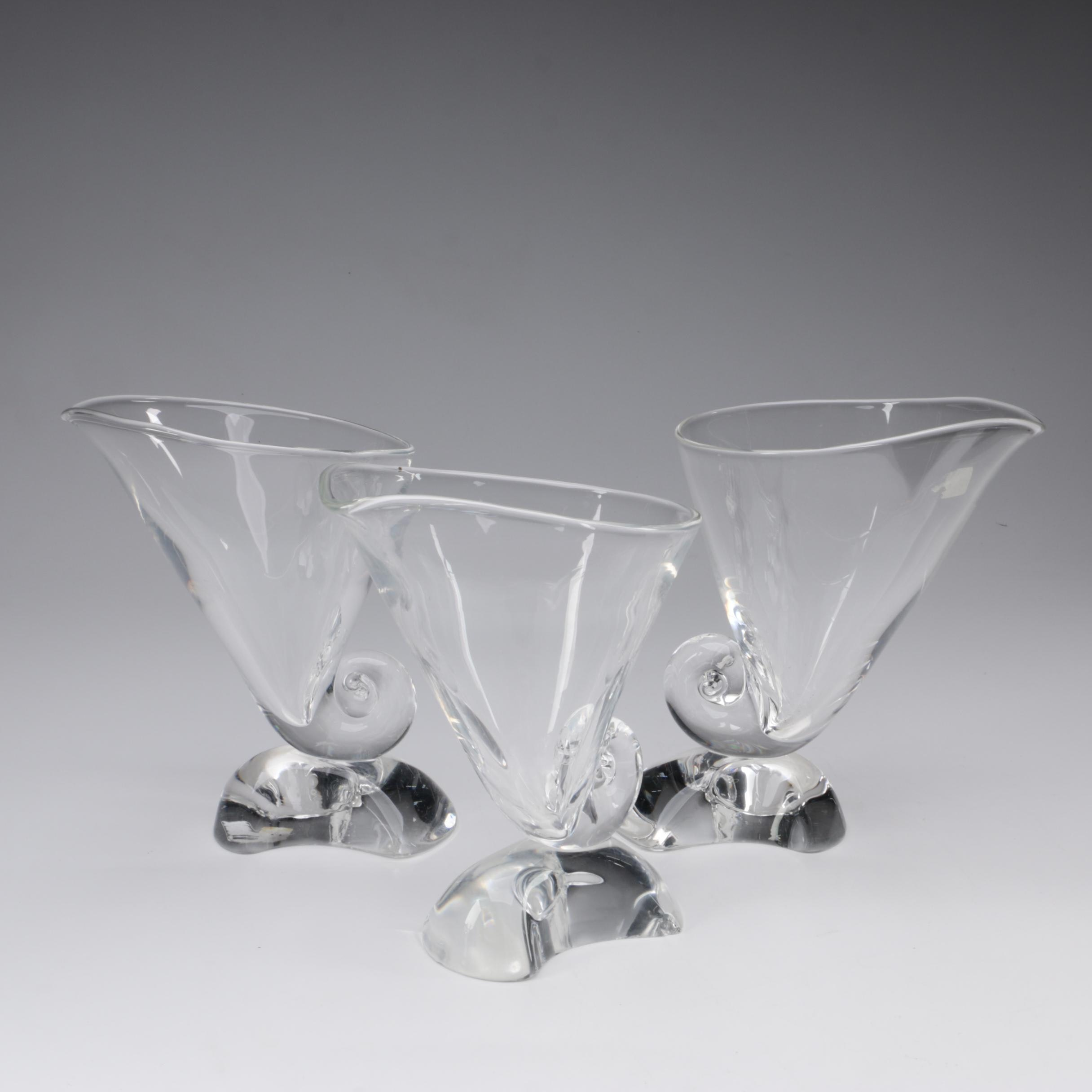 "Steuben Art Glass ""Cornucopia"" Vases Designed by Donald Pollard, Circa 1964"