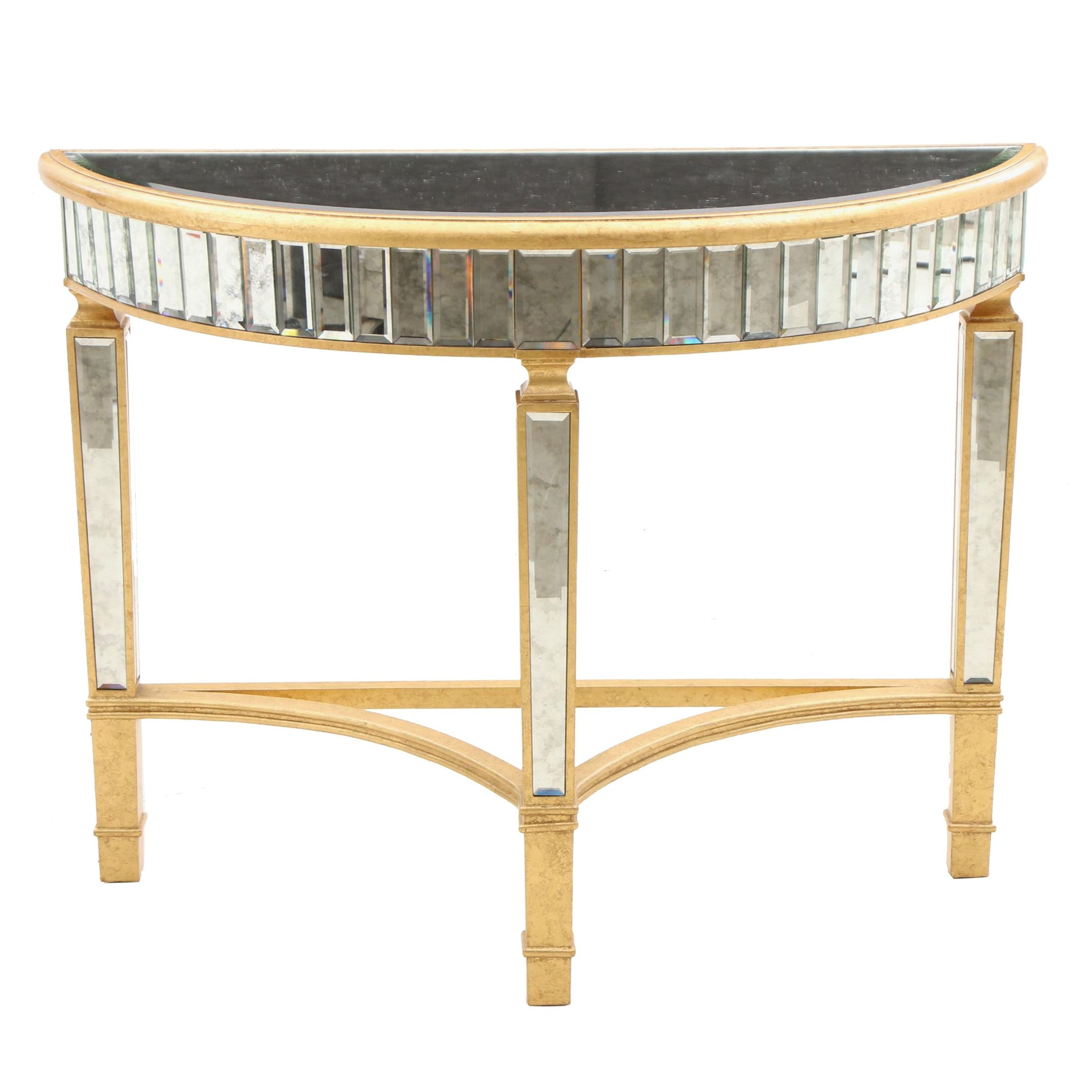 Gilt and Mirror Demilune Console Table