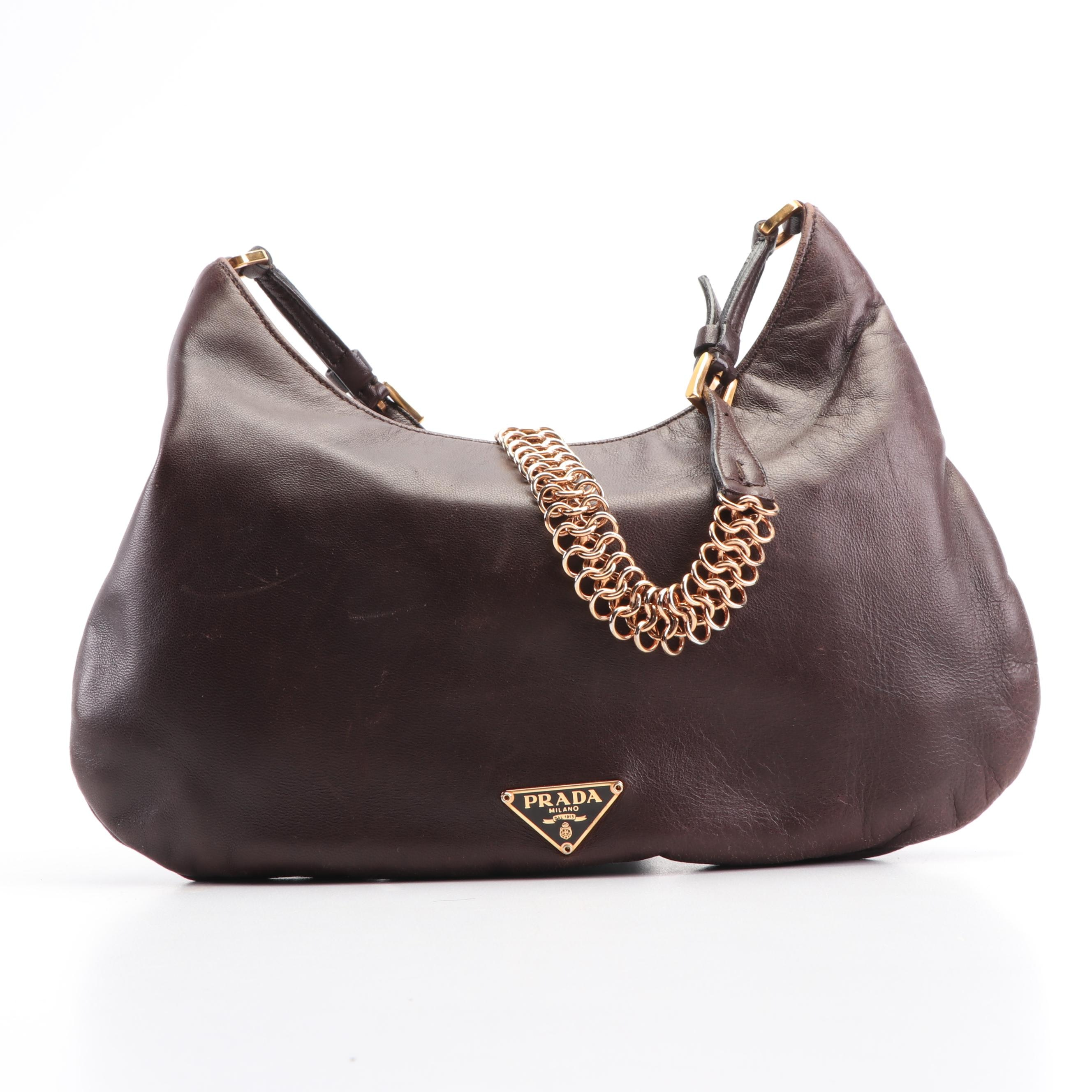 Prada Brown Leather Shoulder Bag, Made in Italy