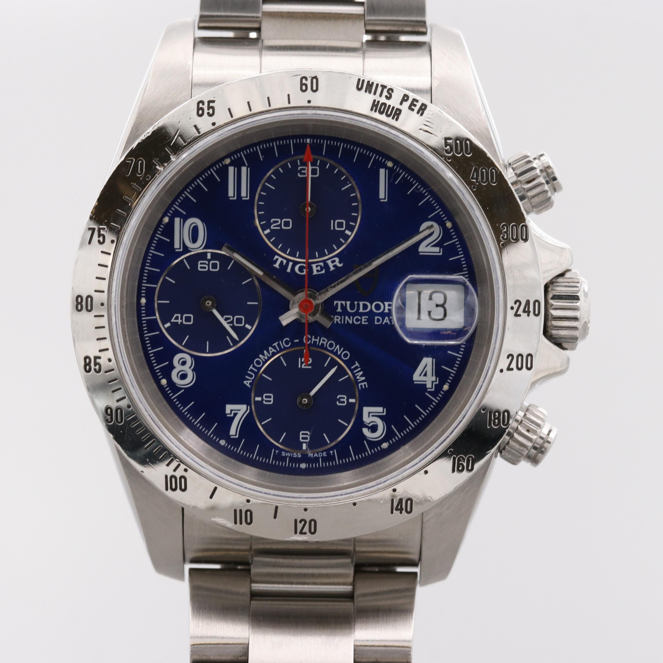Tudor Tiger Prince Stainless Steel Chronograph Automatic Wristwatch