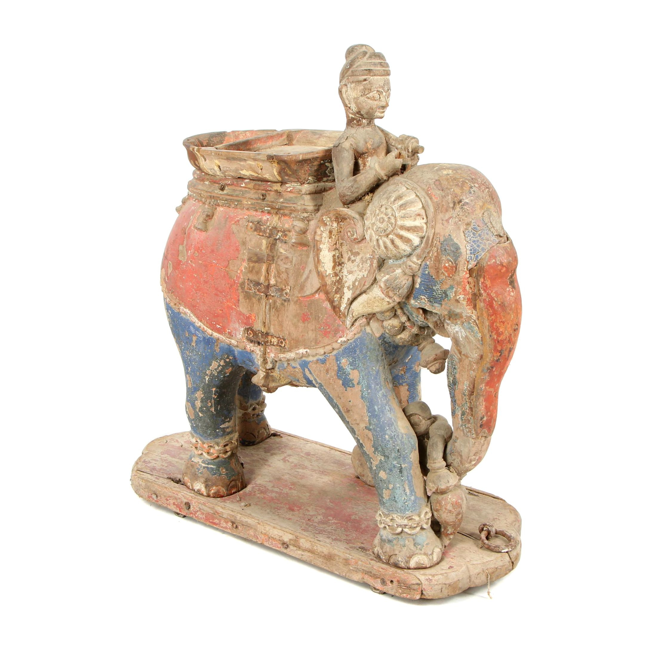 Southeast Asian Style Polychrome Elephant Sculpture