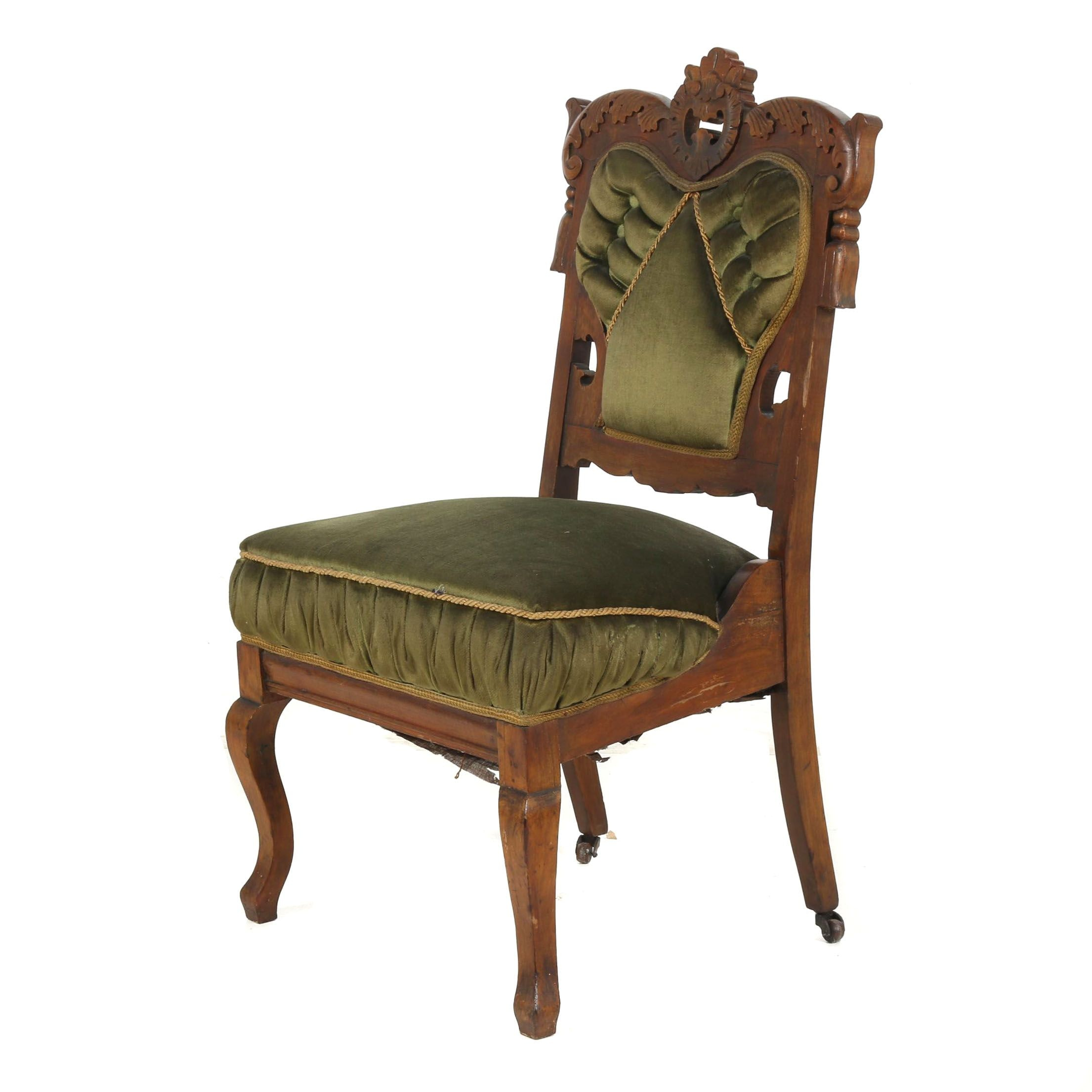 Eastlake Victorian Carved Walnut Frame Upholstered Side Chair, 19th Century