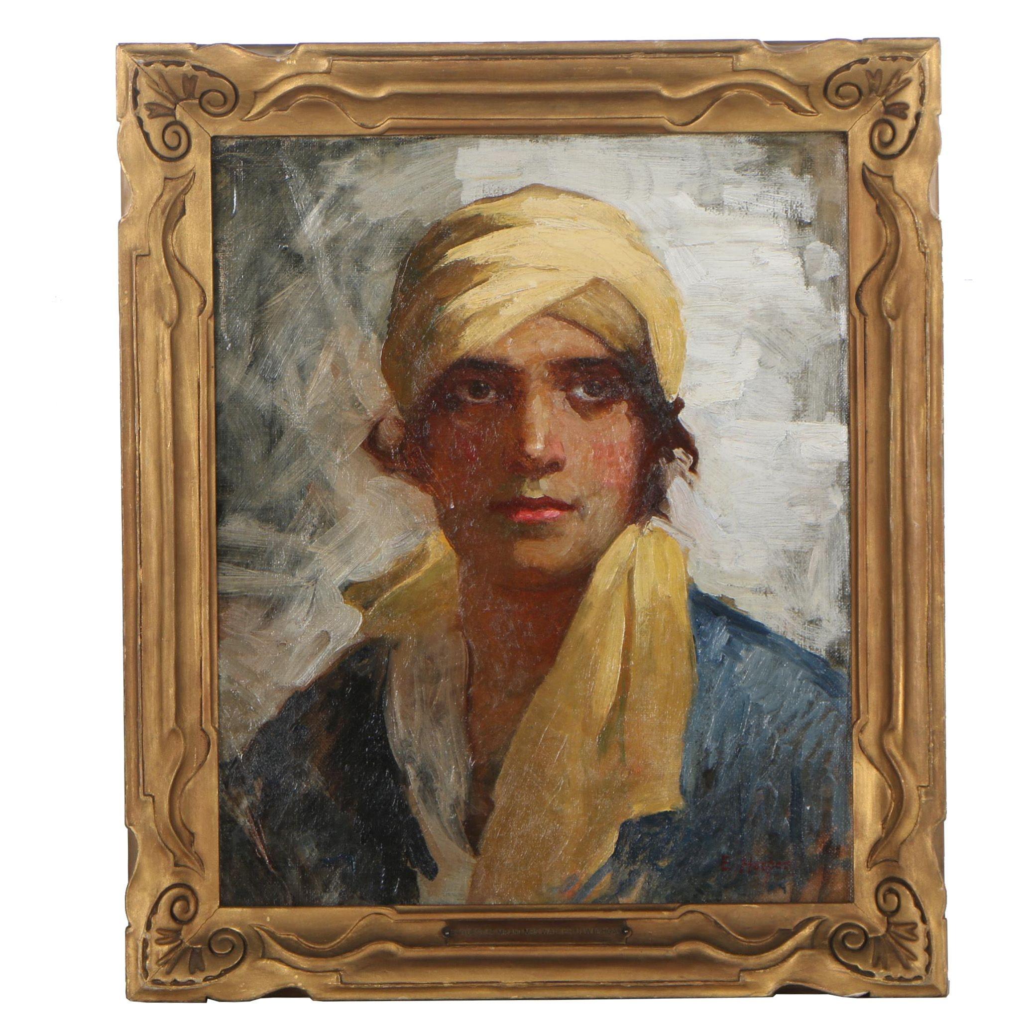 Edith Walters Harper Oil Portrait of a Woman, circa 1920