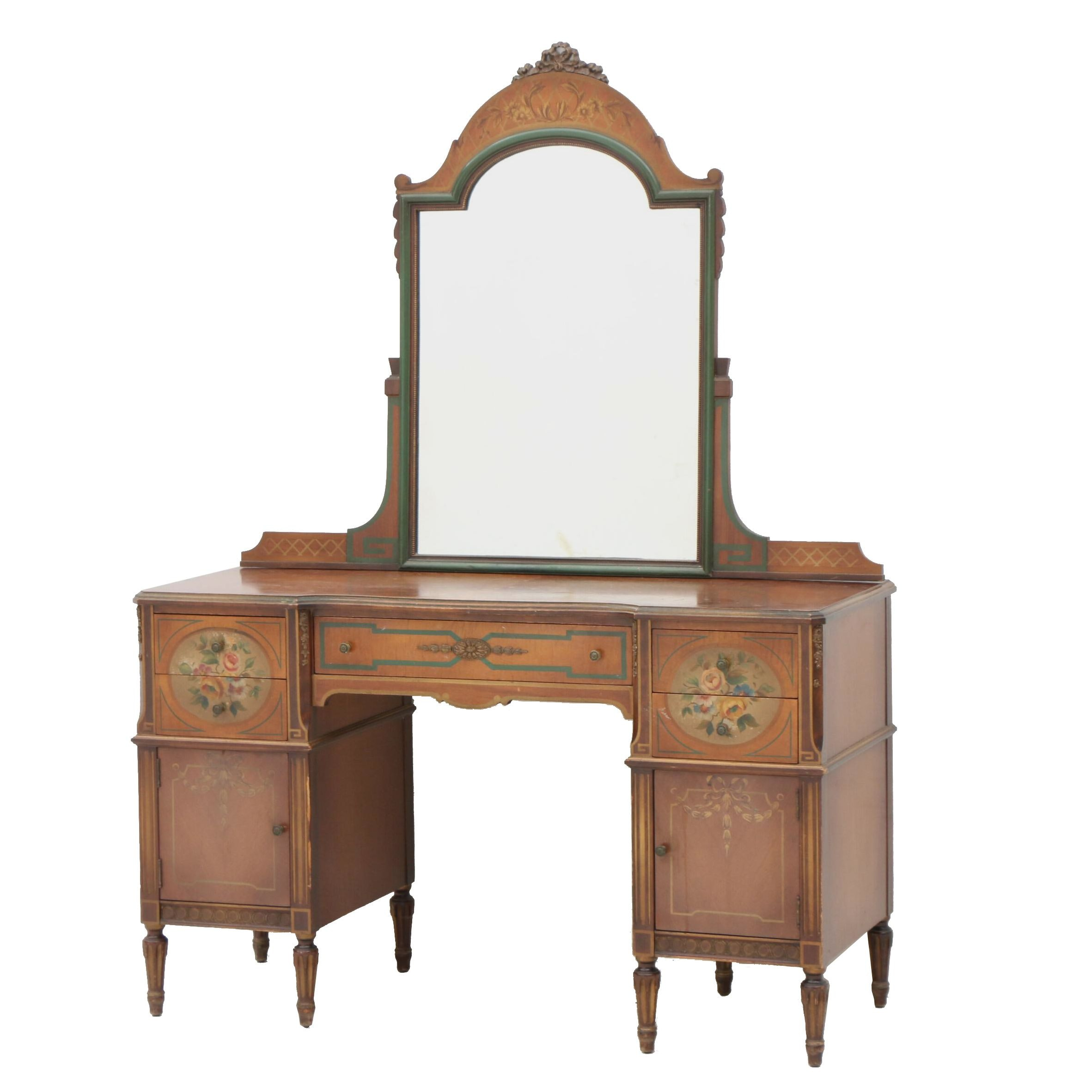 Painted Vanity Dresser with Mirror