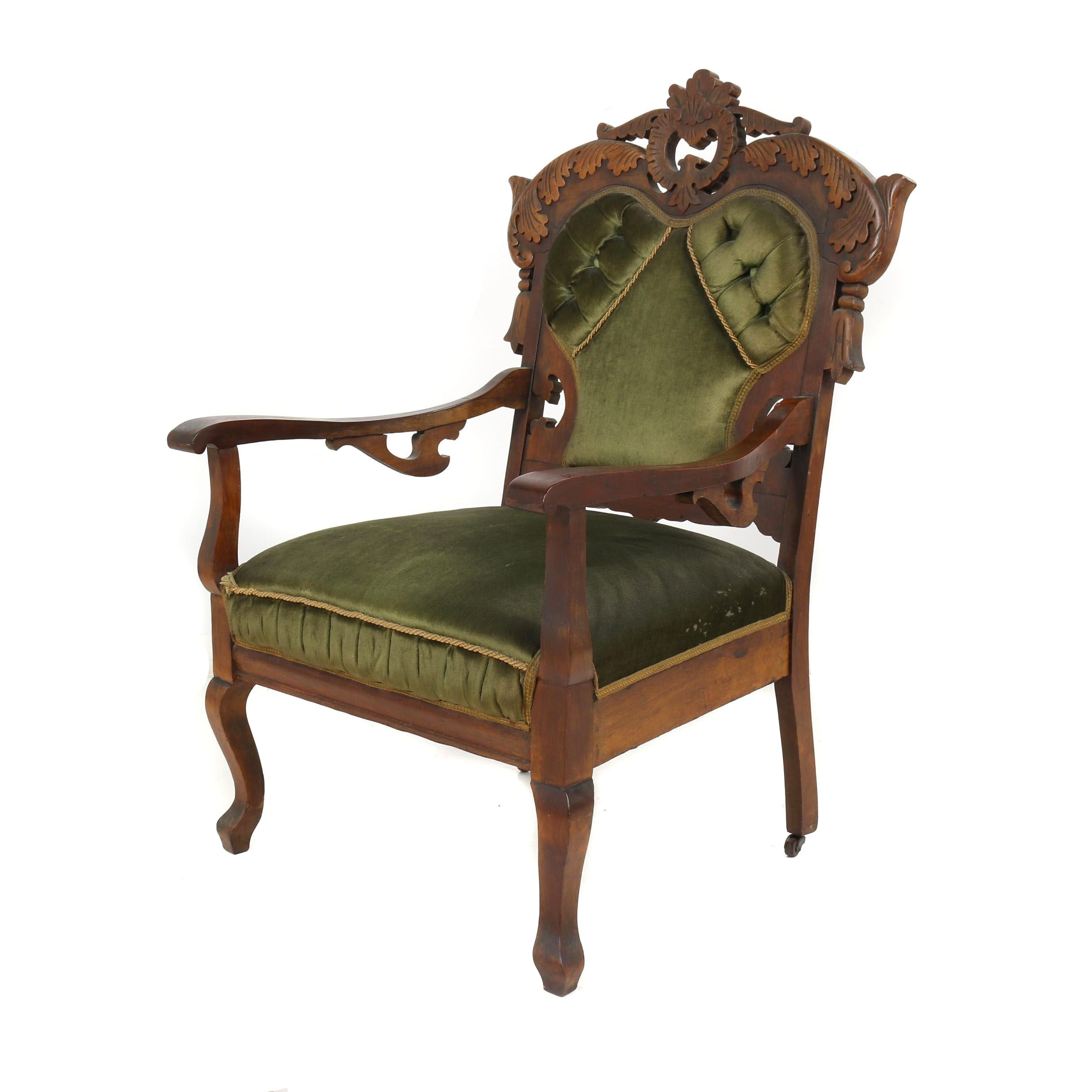 Eastlake Victorian Carved Walnut Frame Upholstered Armchair, 19th Century
