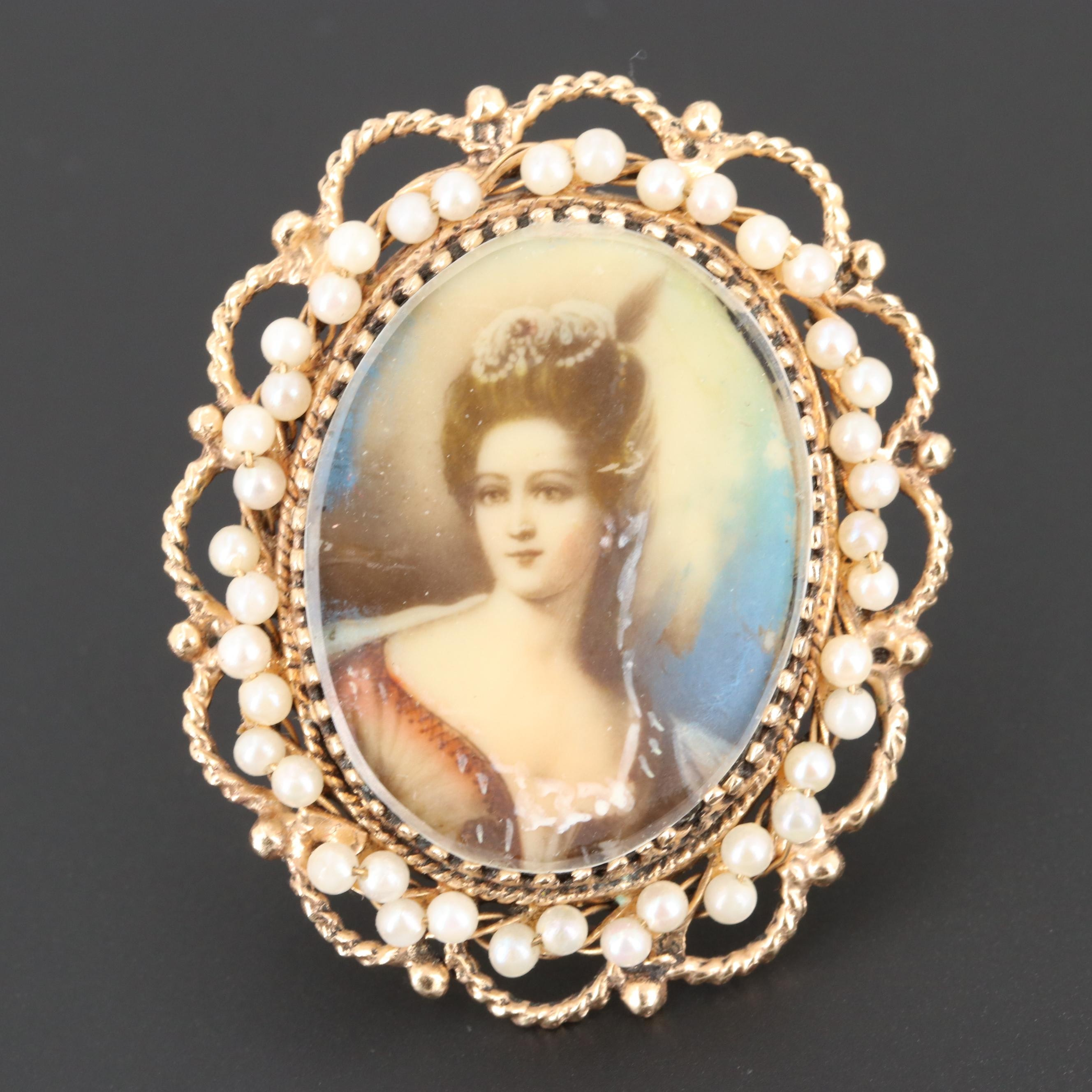 Vintage 14K Gold Celluloid, Acrylic and Seed Pearl Portrait Converter Brooch