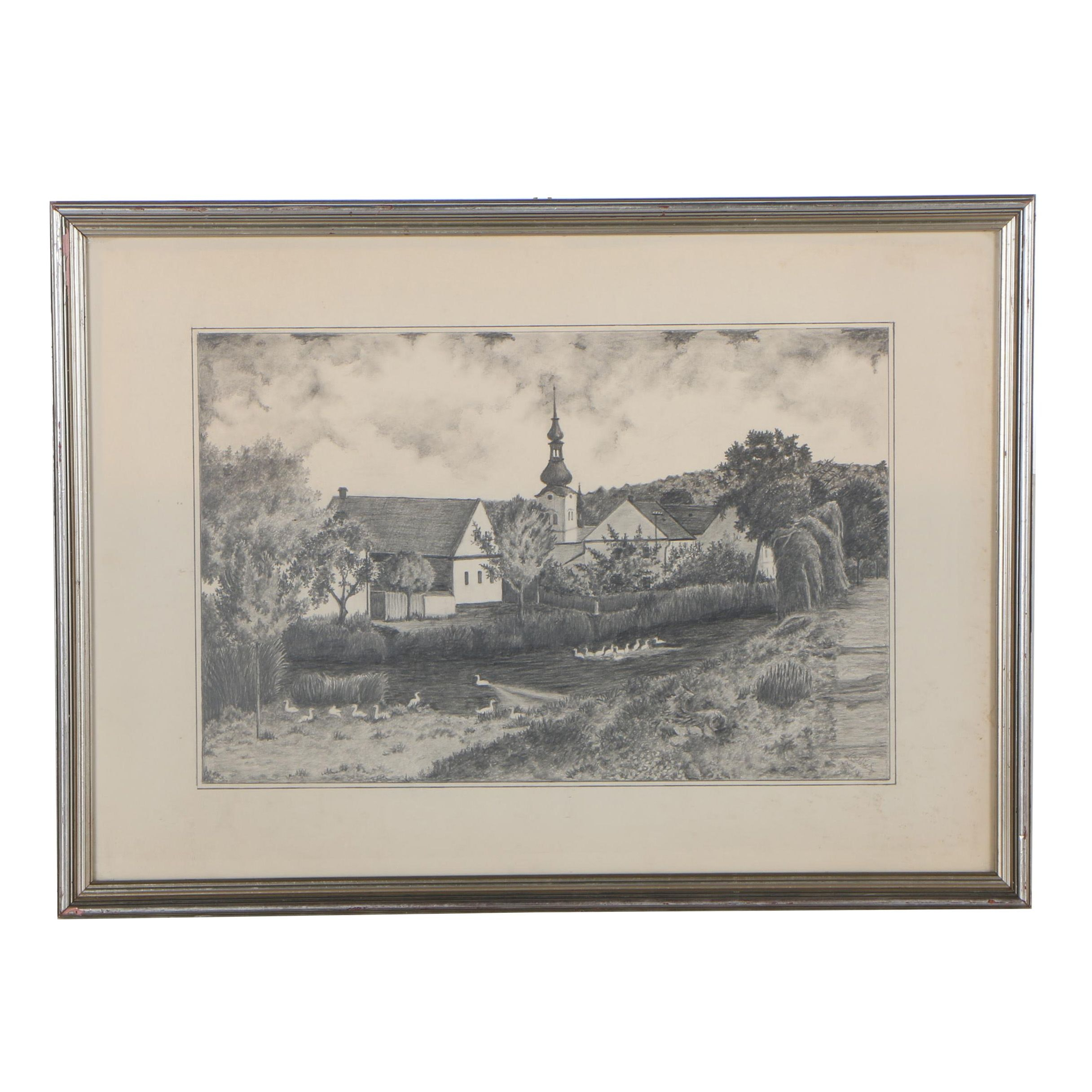 Late 20th Century Pastoral Graphite Drawing