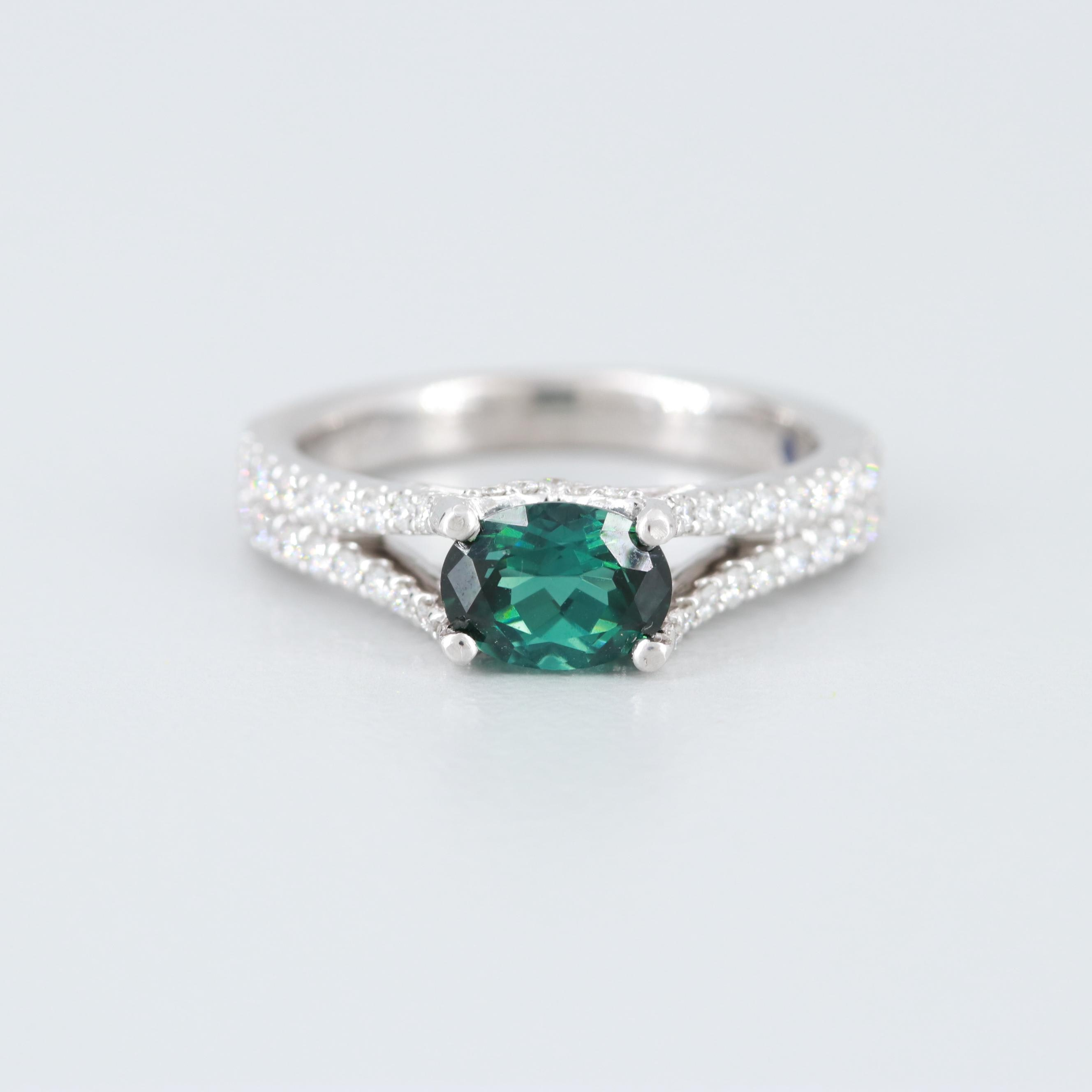 14K White Gold Tourmaline and Diamond Ring with Blue Sapphire Accent