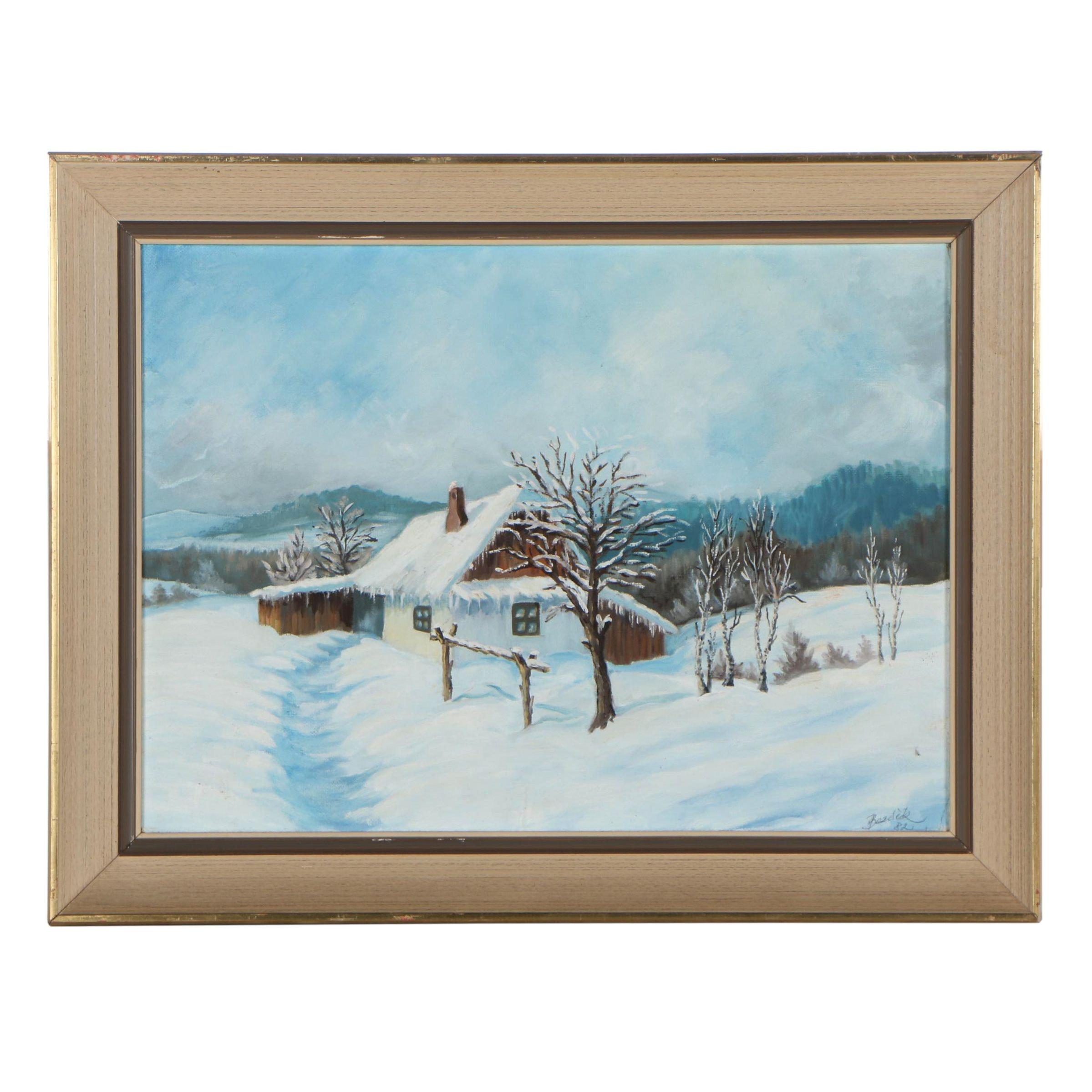 František Bezděk 1982 Winter Landscape Oil Painting