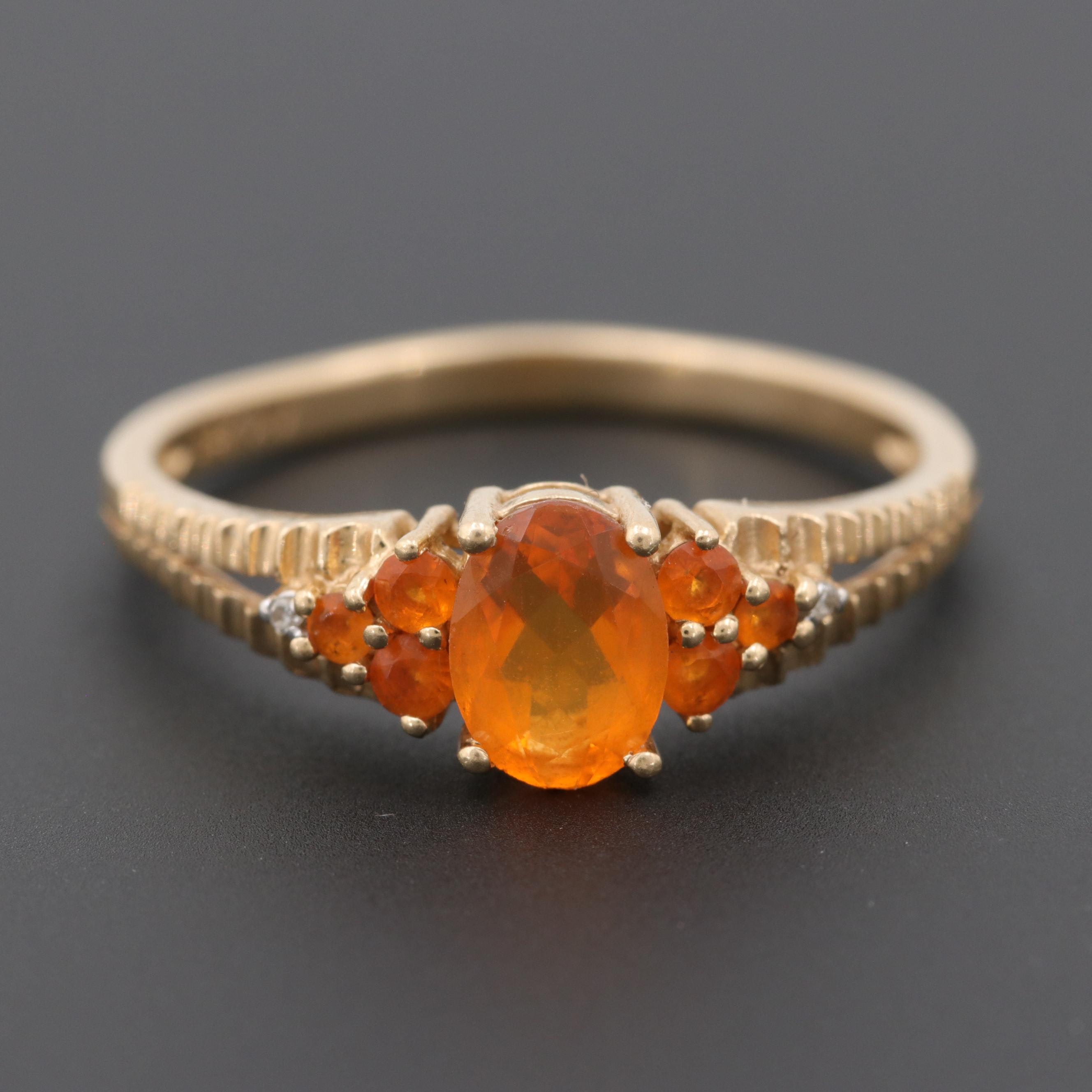 Alwand Vahan 14K Yellow Gold Fire Opal and Diamond Ring