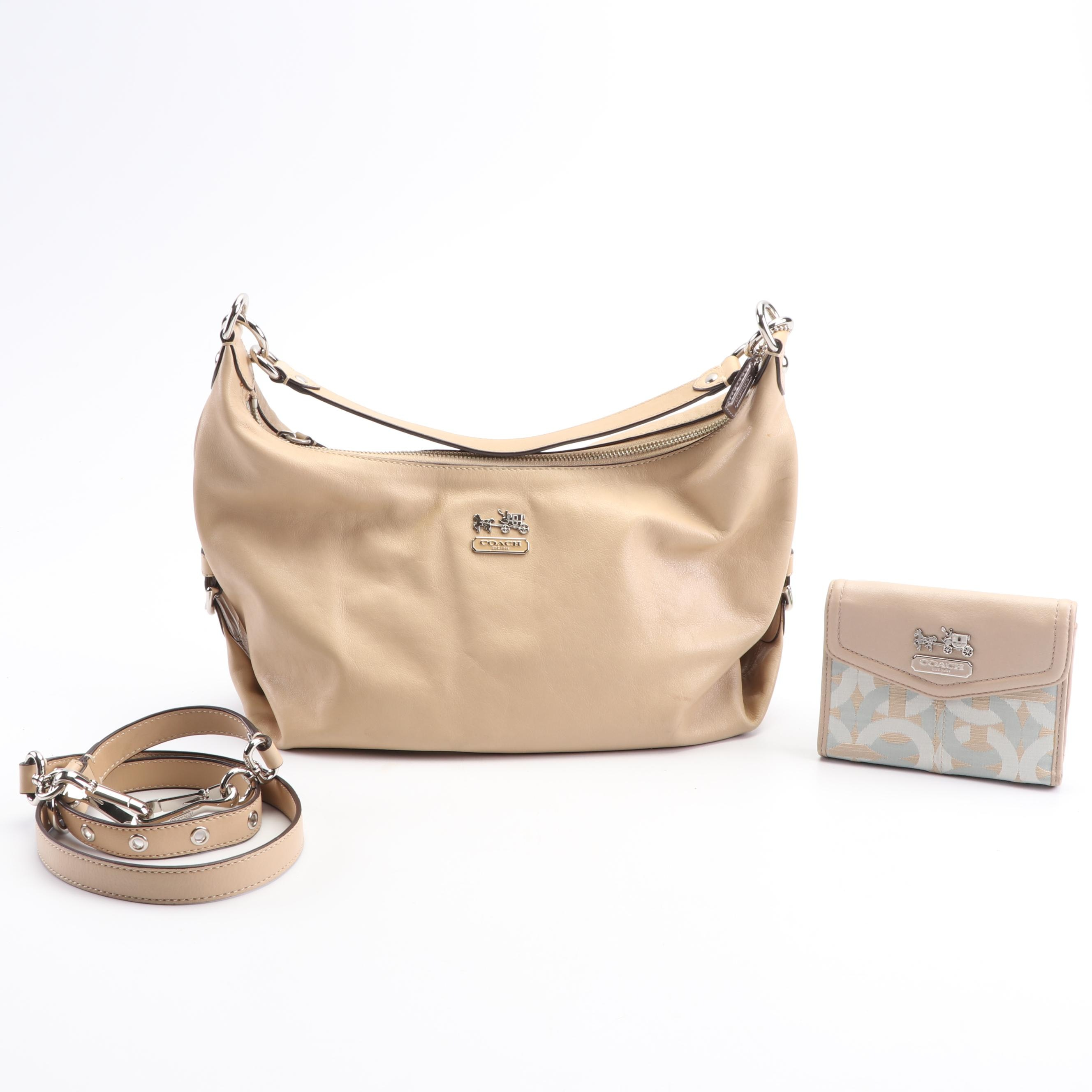 Coach Tan Madison Hailey Hobo Leather Bag and Coach Canvas and Leather Wallet