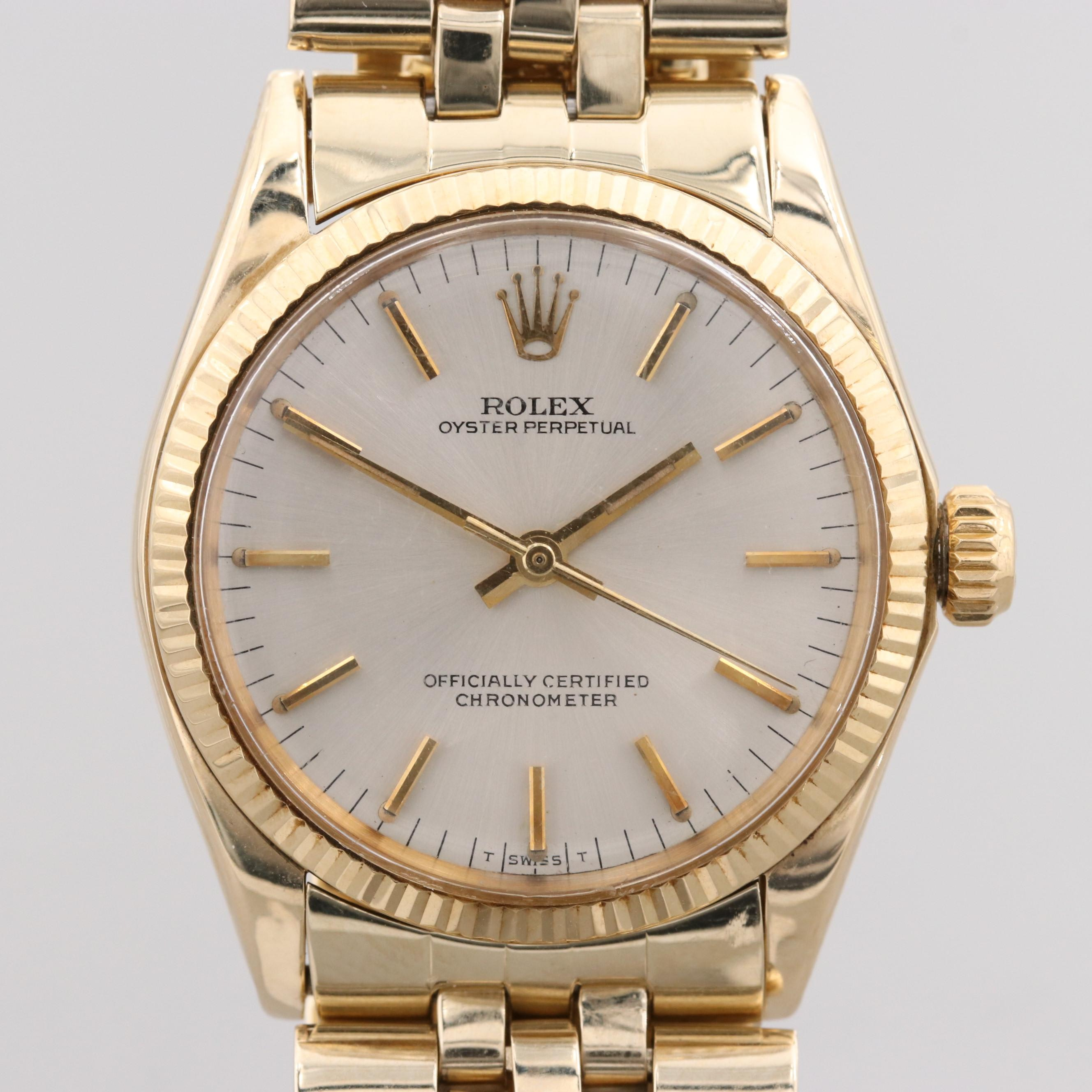 Vintage Rolex Oyster Perpetual 14K Yellow Gold Wristwatch, 1969
