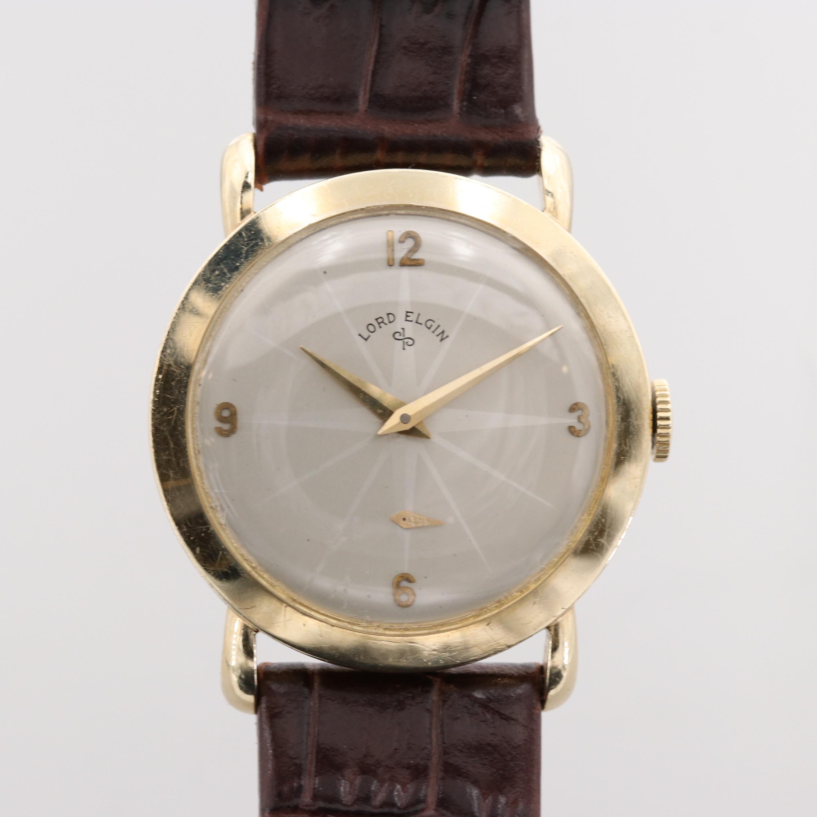 Lord Elgin 14K Yellow Gold Wristwatch, Circa 1952