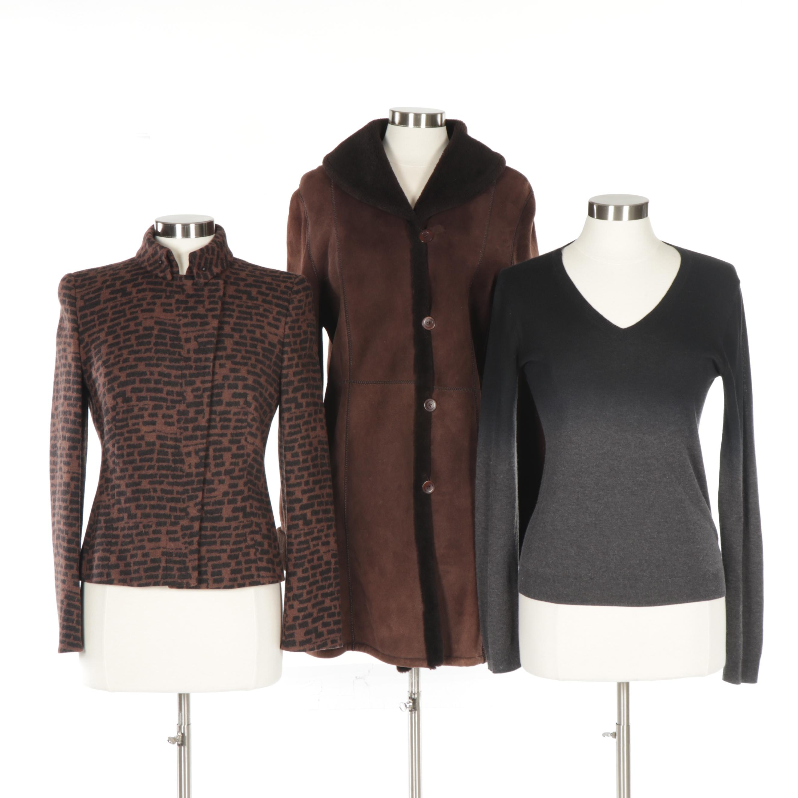 Women's Shearling, Wool and Cashmere Outerwear and Sweater Including Akris