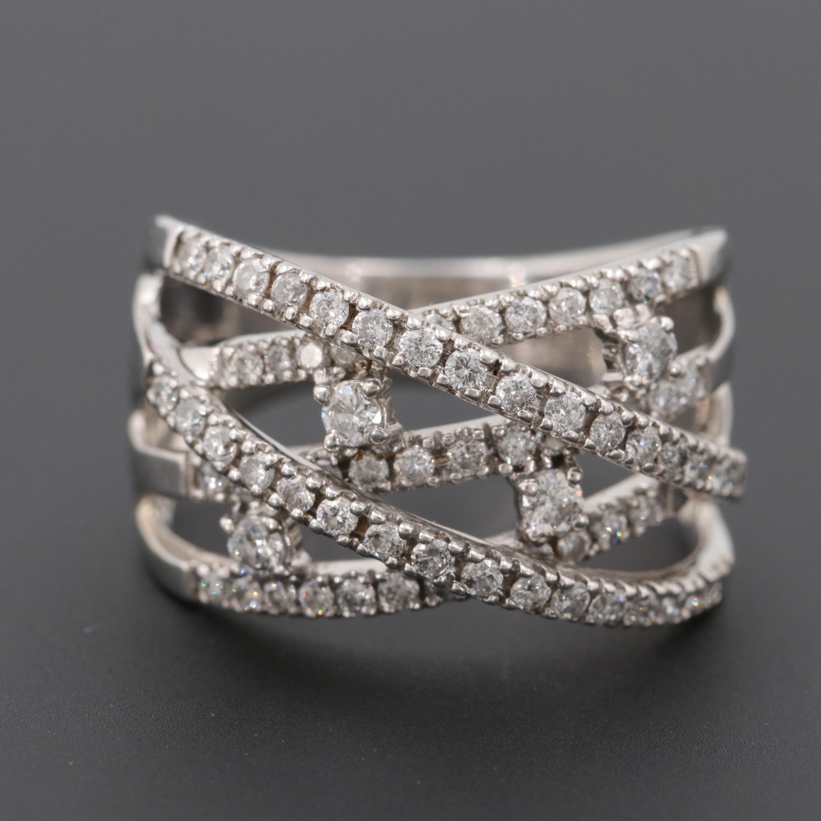 14K White Gold 1.00 CTW Diamond Cross-Over Ring