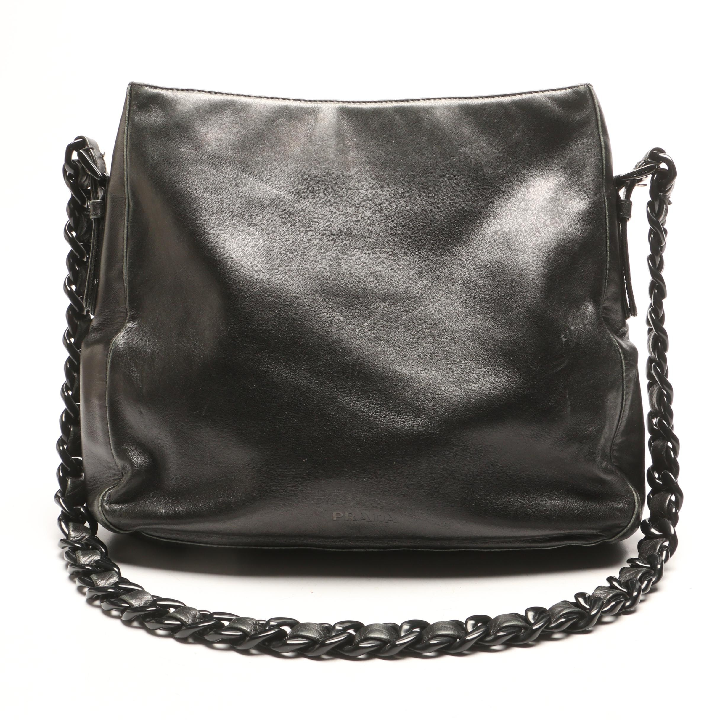 Prada Black Leather Shoulder Bag with Acrylic Chain and Leather Strap
