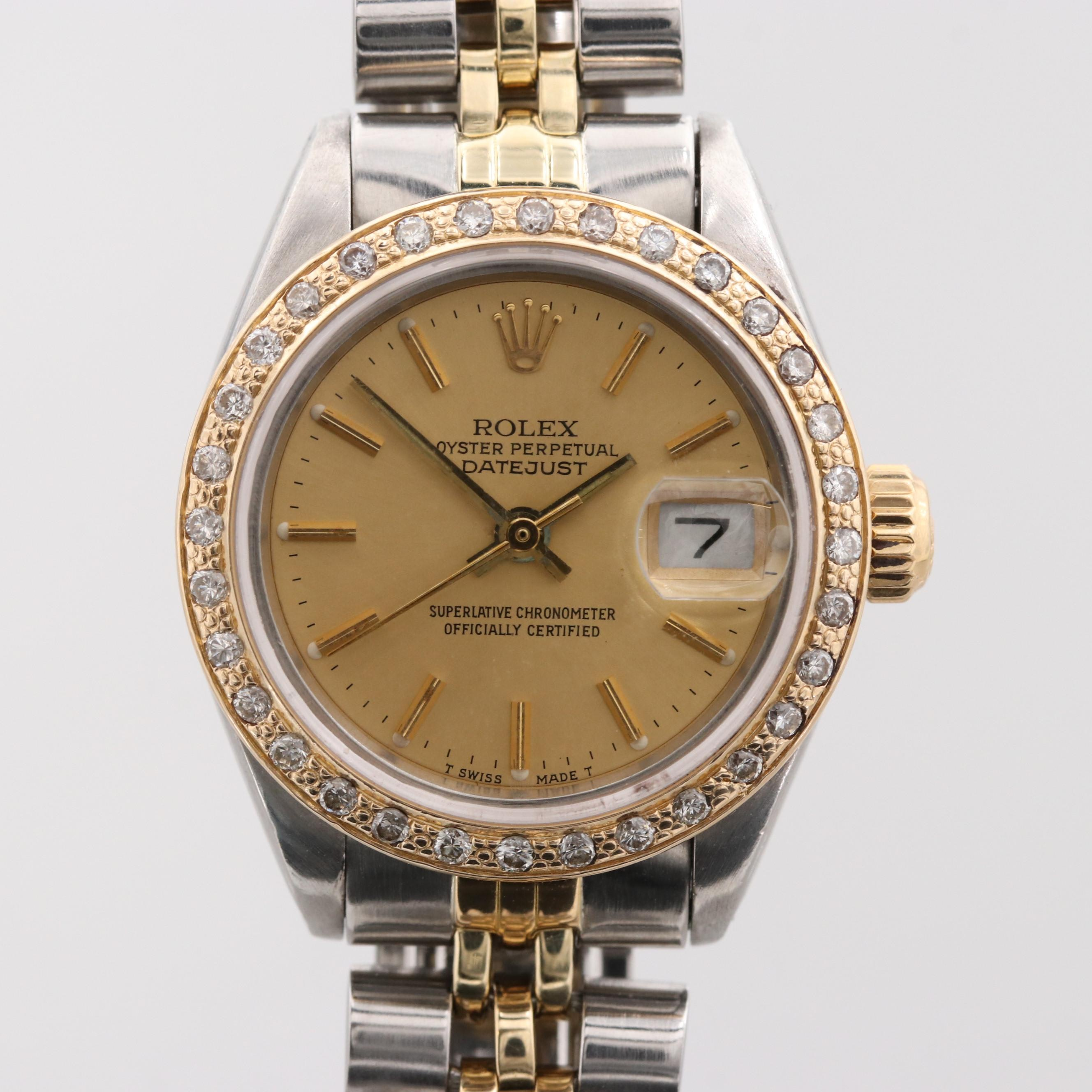 Vintage Rolex Datejust Stainless Steel and 14K Yellow Gold Wristwatch