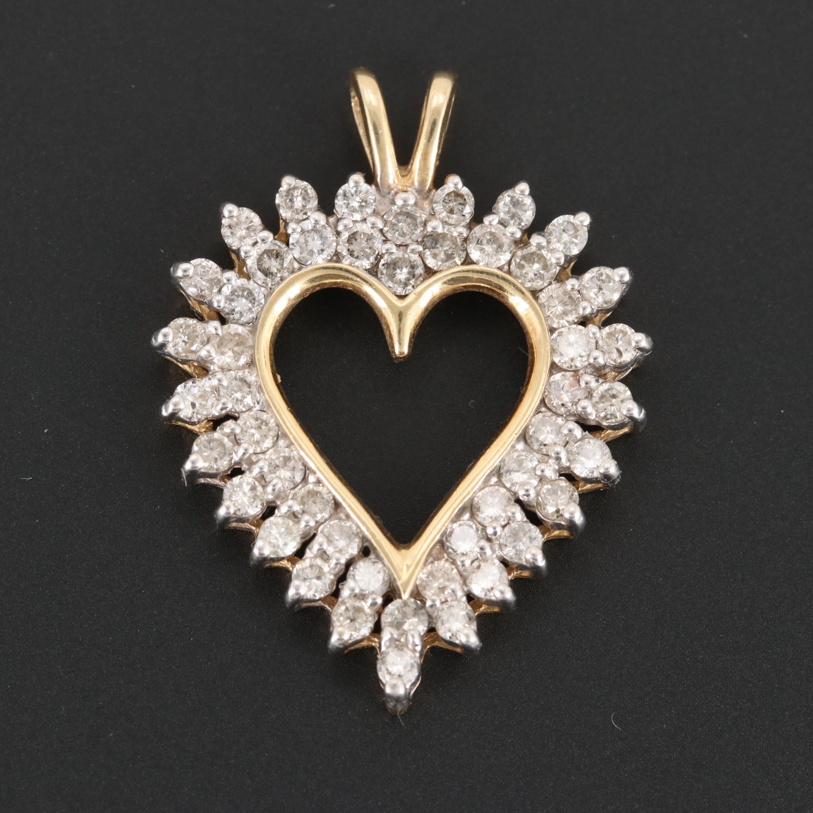 14K Yellow Gold 1.75 CTW Diamond Open Heart Pendant