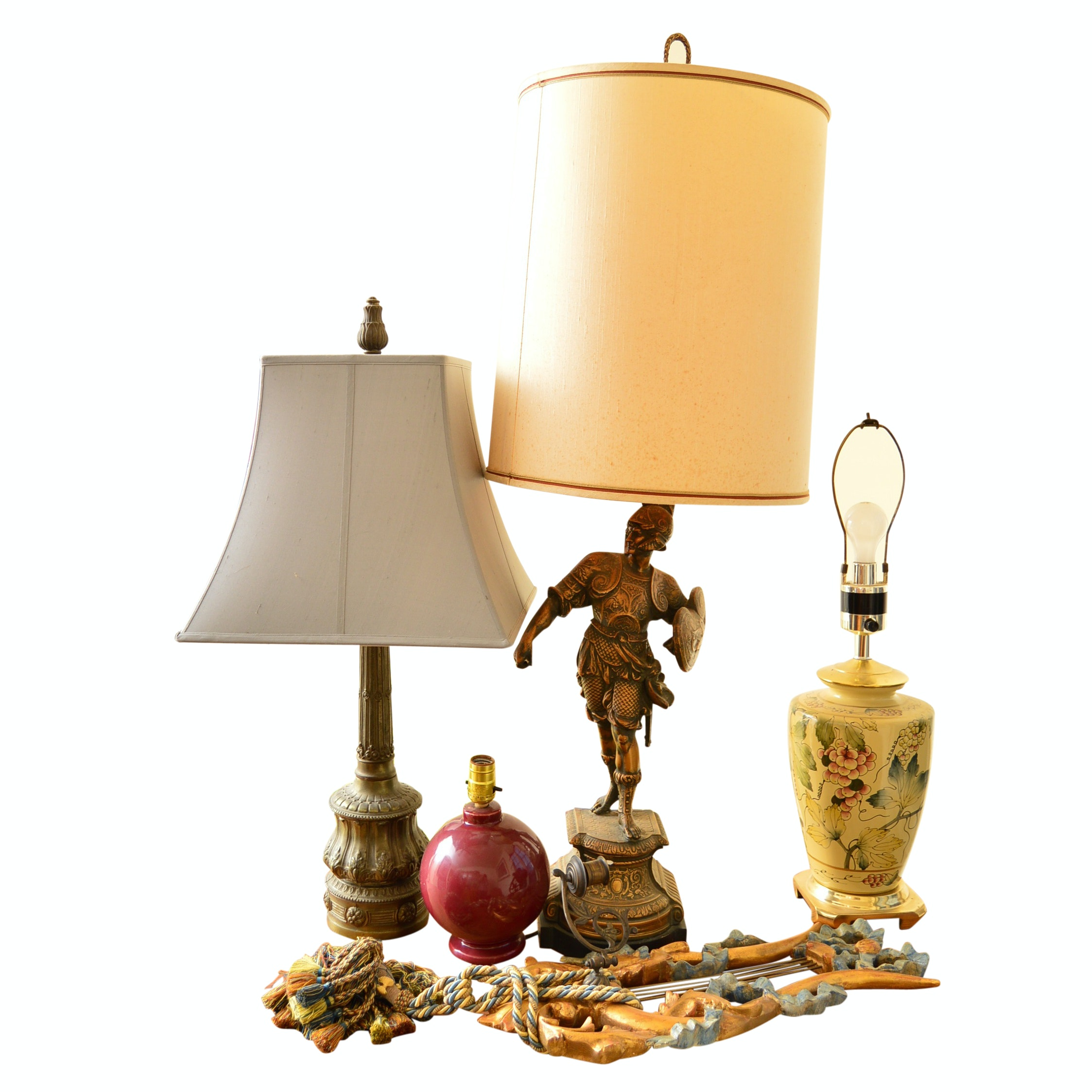Group of Table Lamps and Wall Decor/Hat Rack
