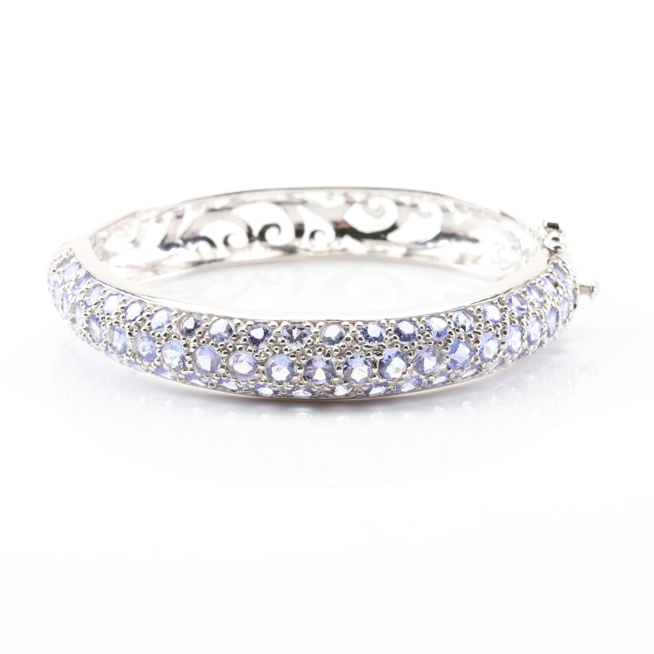 Sterling Silver Three Row 10.30 CTW Tanzanite Bangle Bracelet