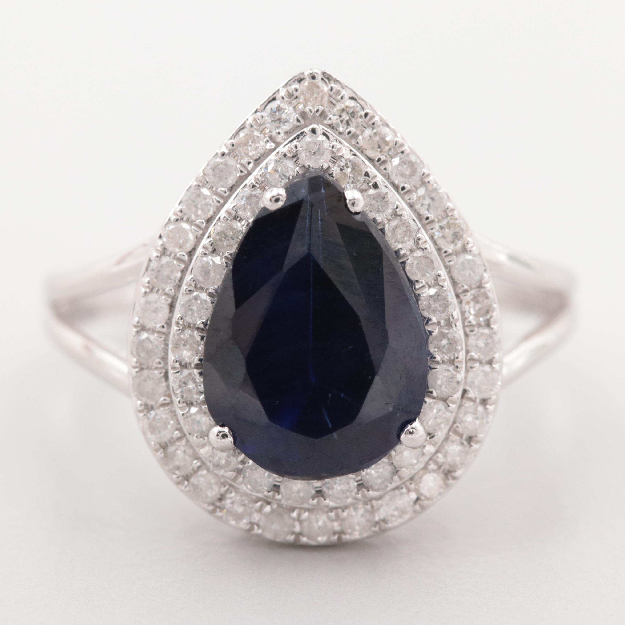 14K White Gold Synthetic Blue Sapphire and Diamond Ring
