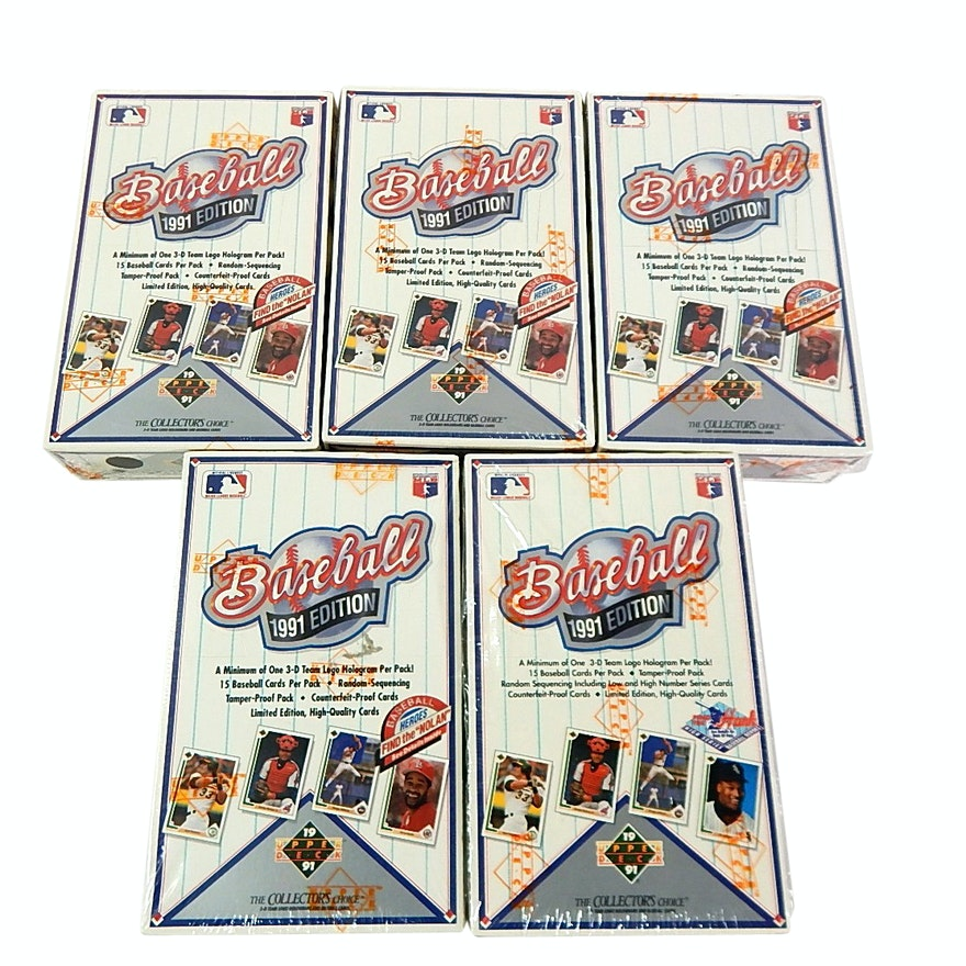 Unopened Factory Sealed 1991 Upper Deck Wax Pack Baseball Boxes Ebth
