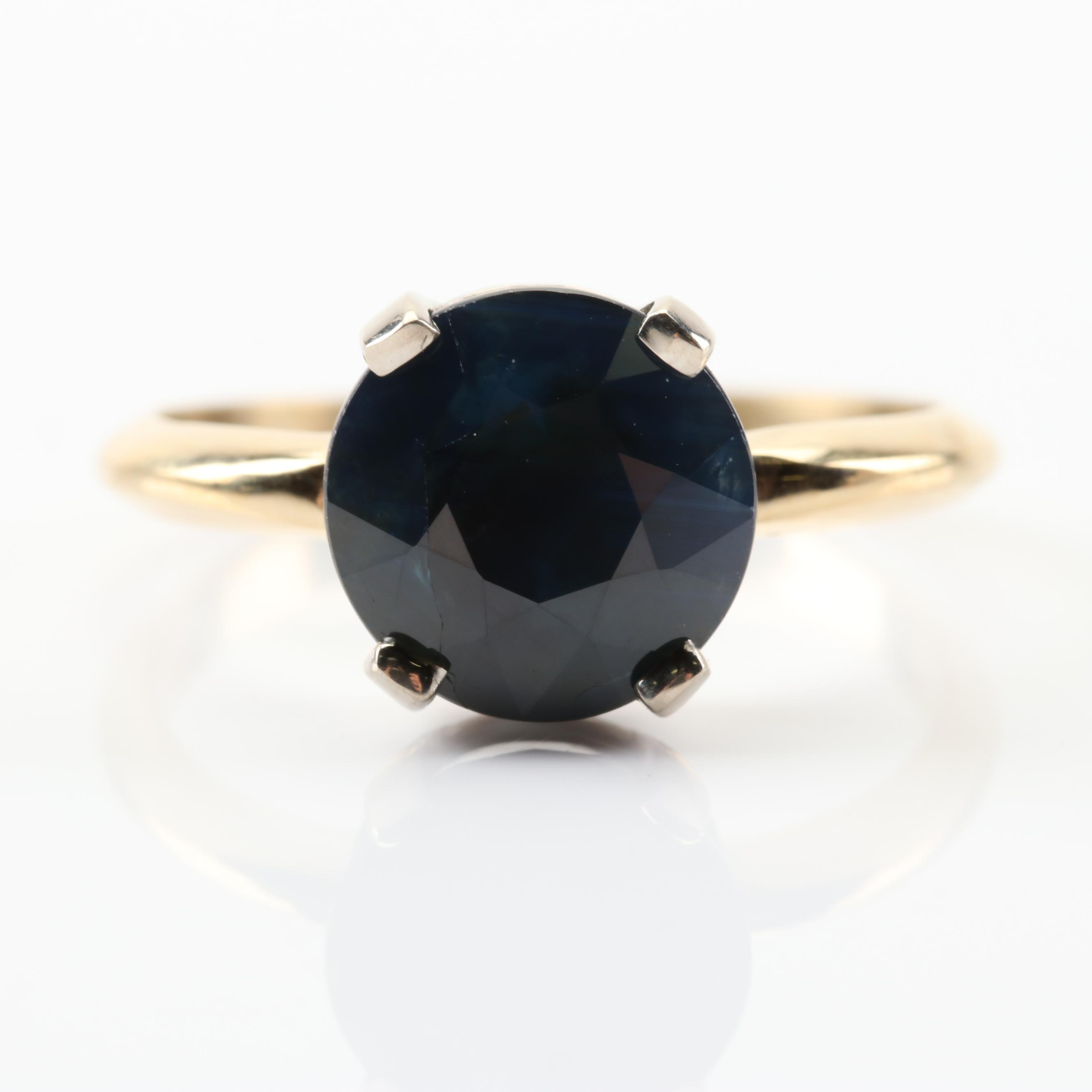 18K Yellow Gold 4.12 CT Sapphire Ring