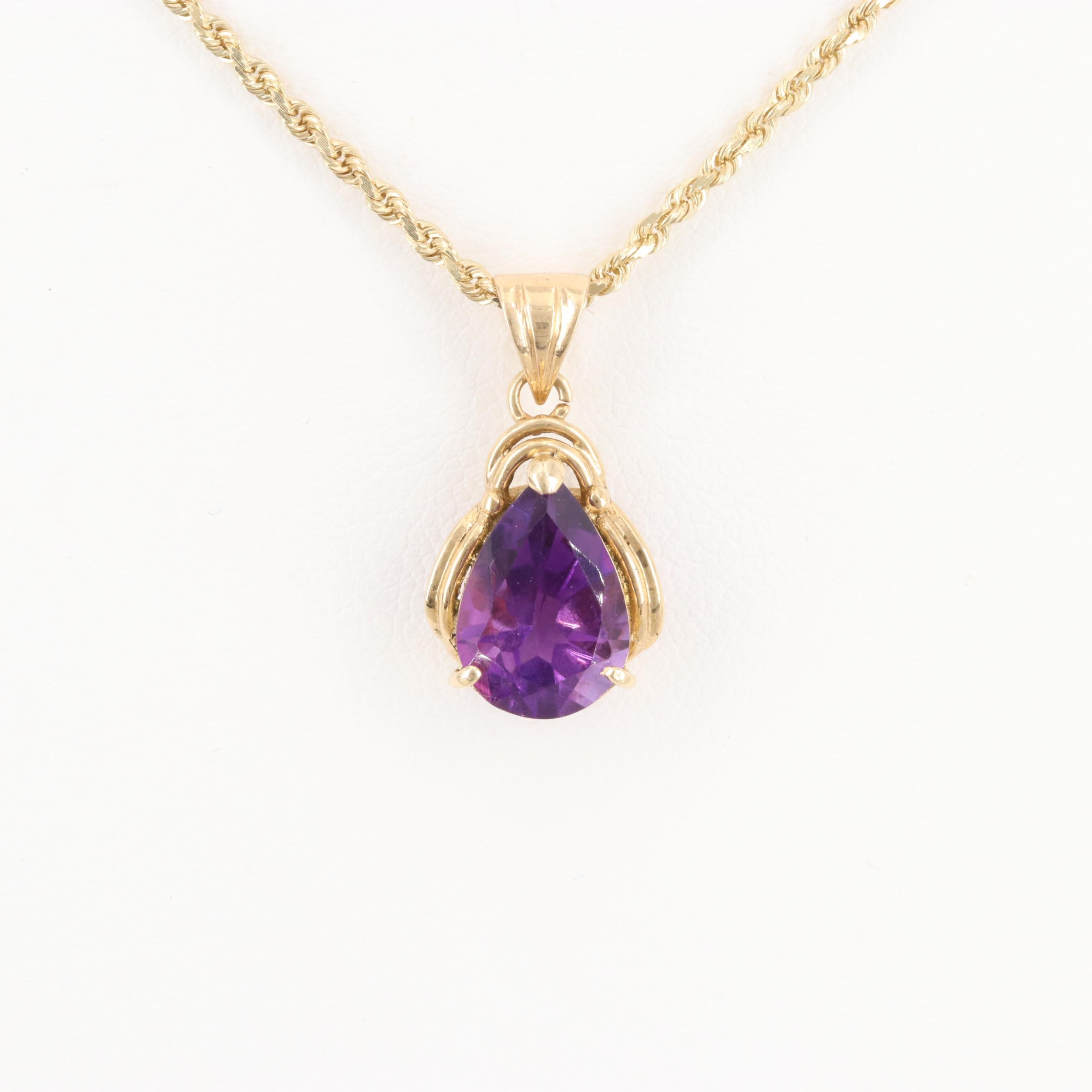 14K Yellow Gold Amethyst Necklace