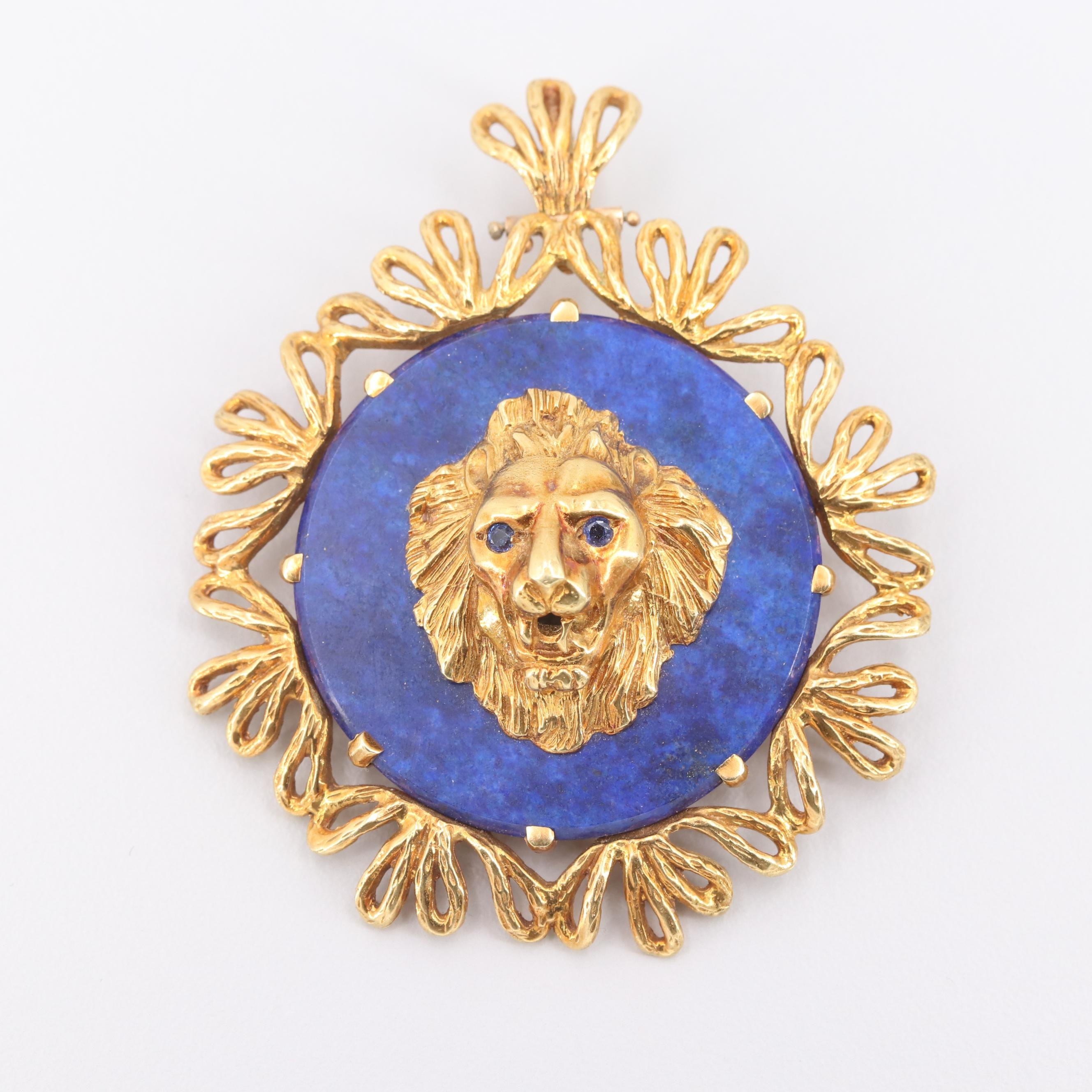 18K Yellow Gold Sapphire and Lapis Lazuli Lion Head Motif Pendant