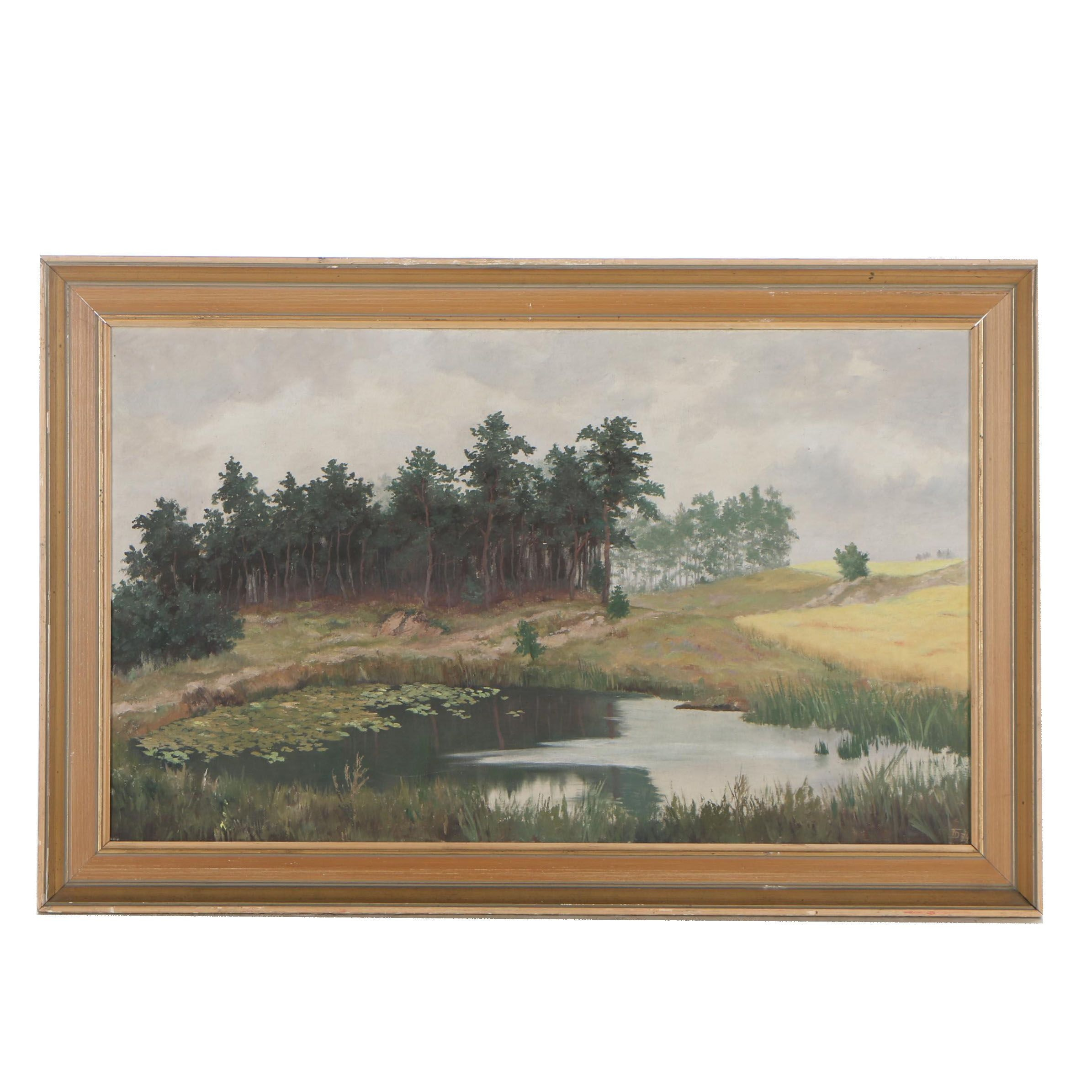 F.D. 1977 Oil Painting of an Impressionistic Landscape