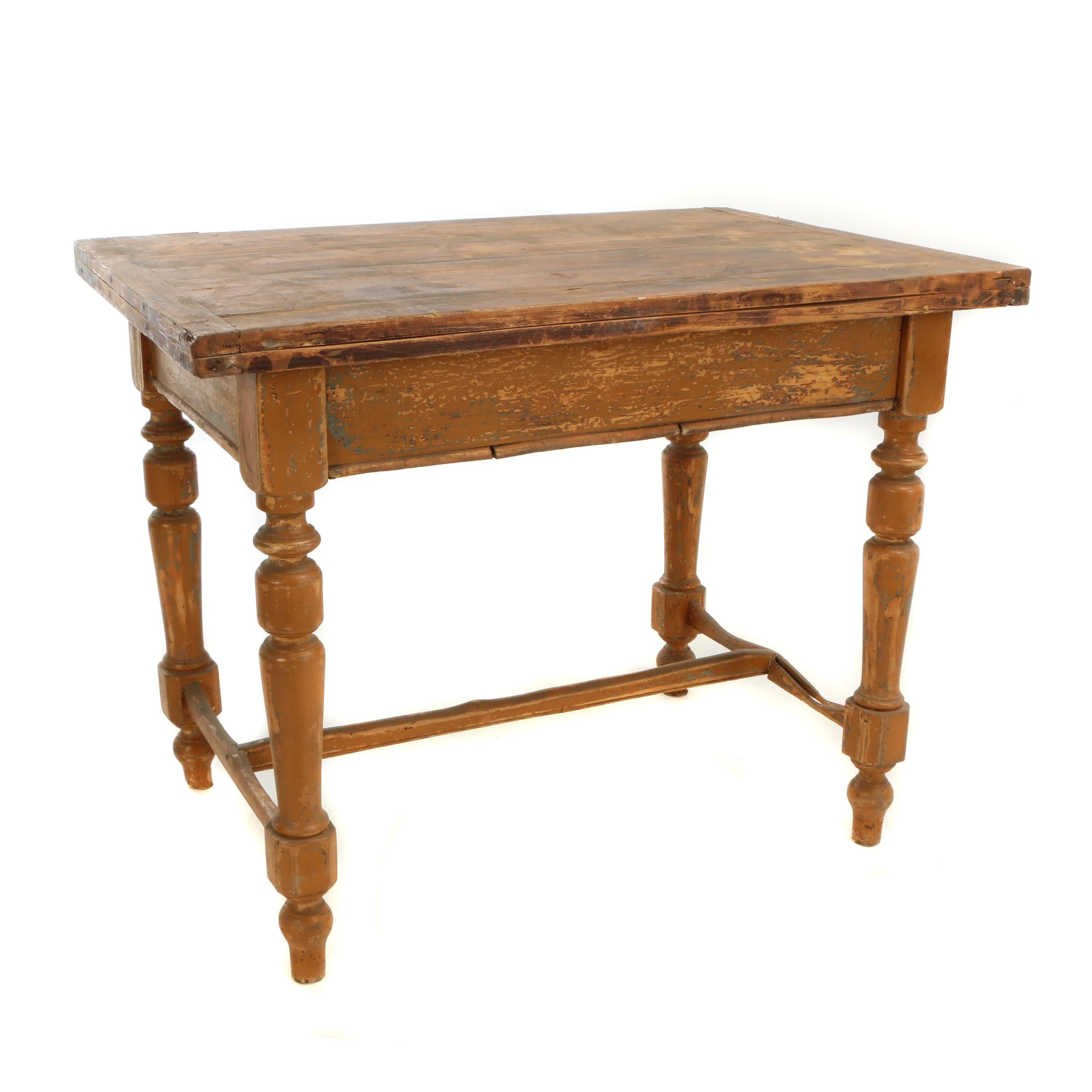 Continental Painted Pine Work Table with Expandable Top, Early 20th Century