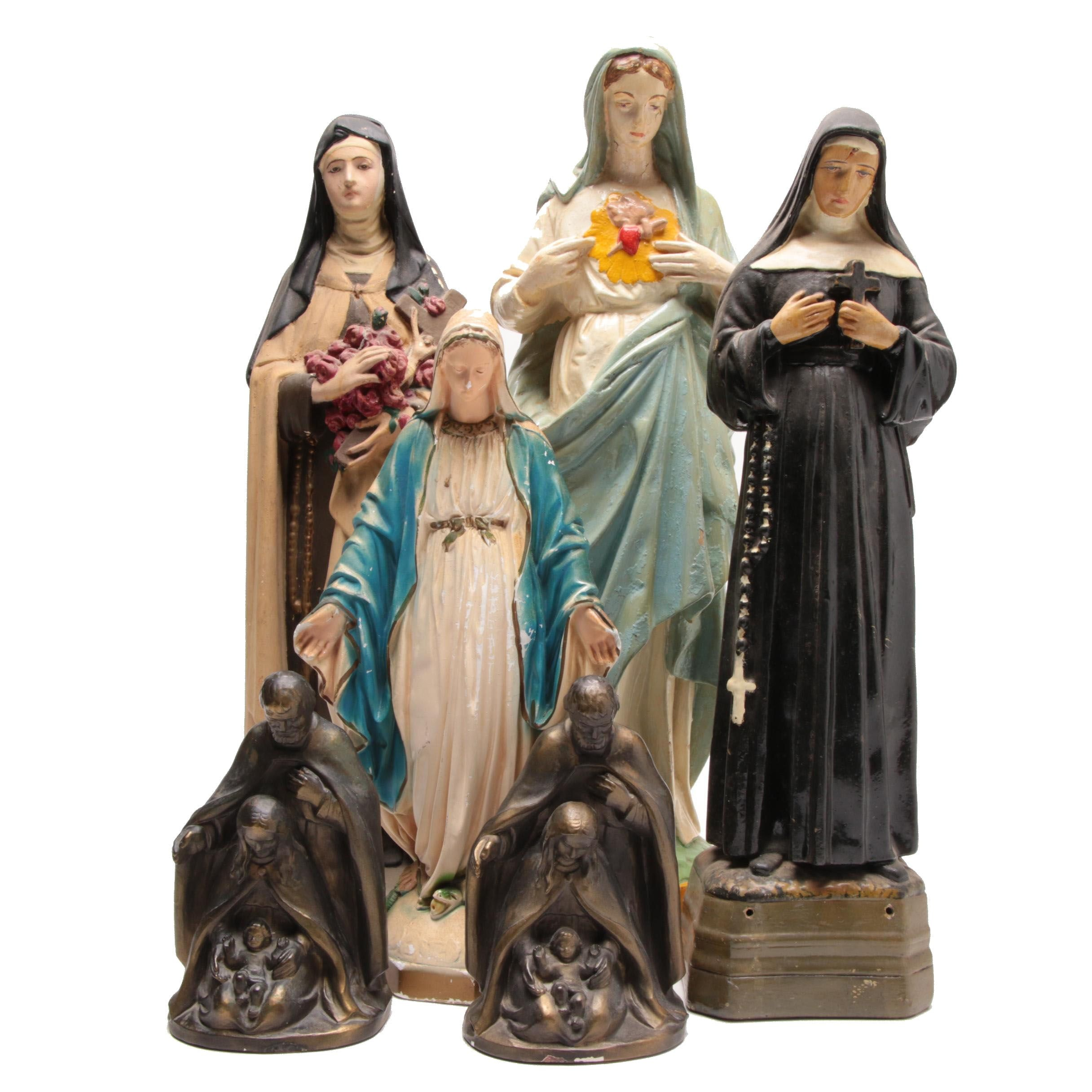 Catholic Figurines with Bookends