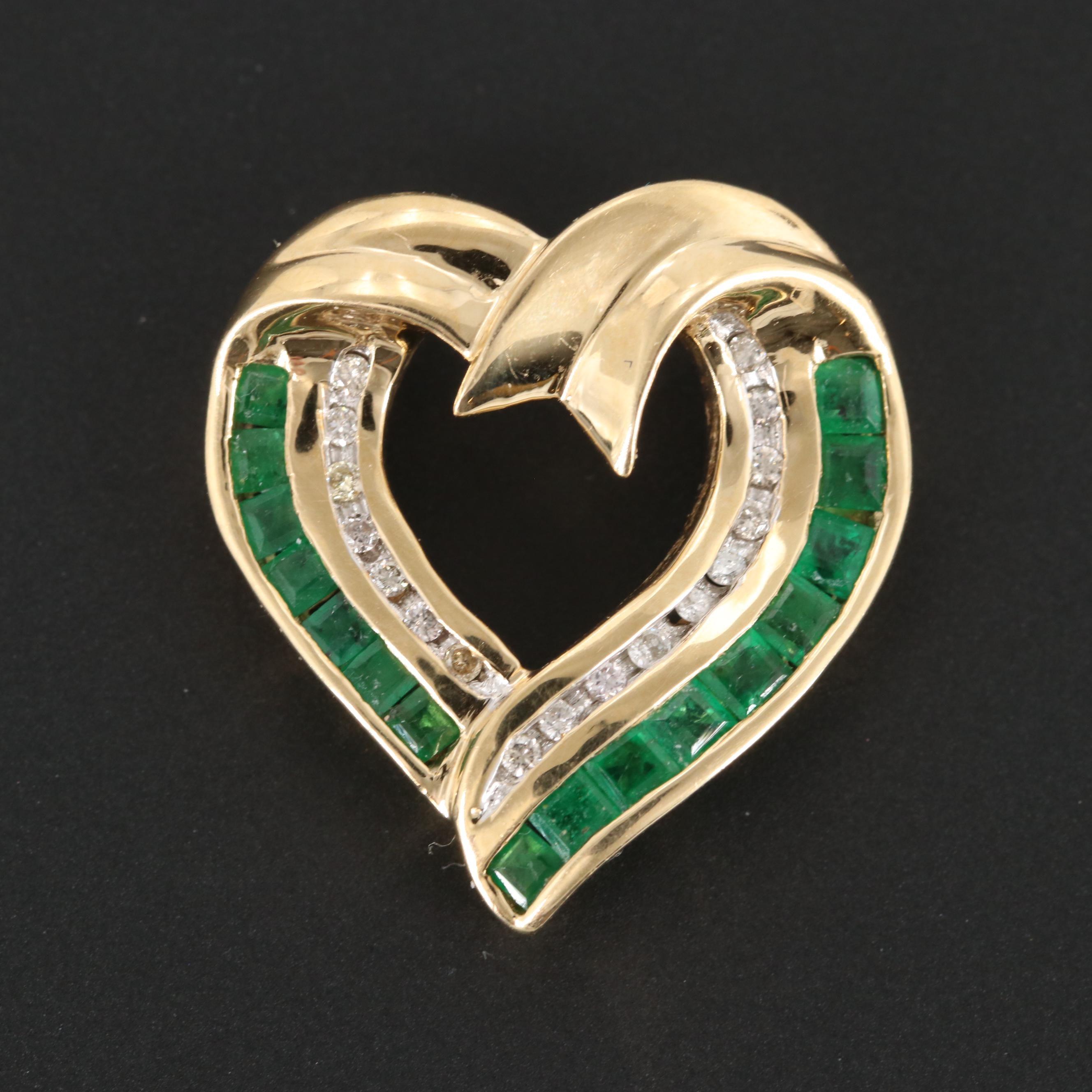 14K Yellow Gold Emerald and Diamond Open Heart Pendant