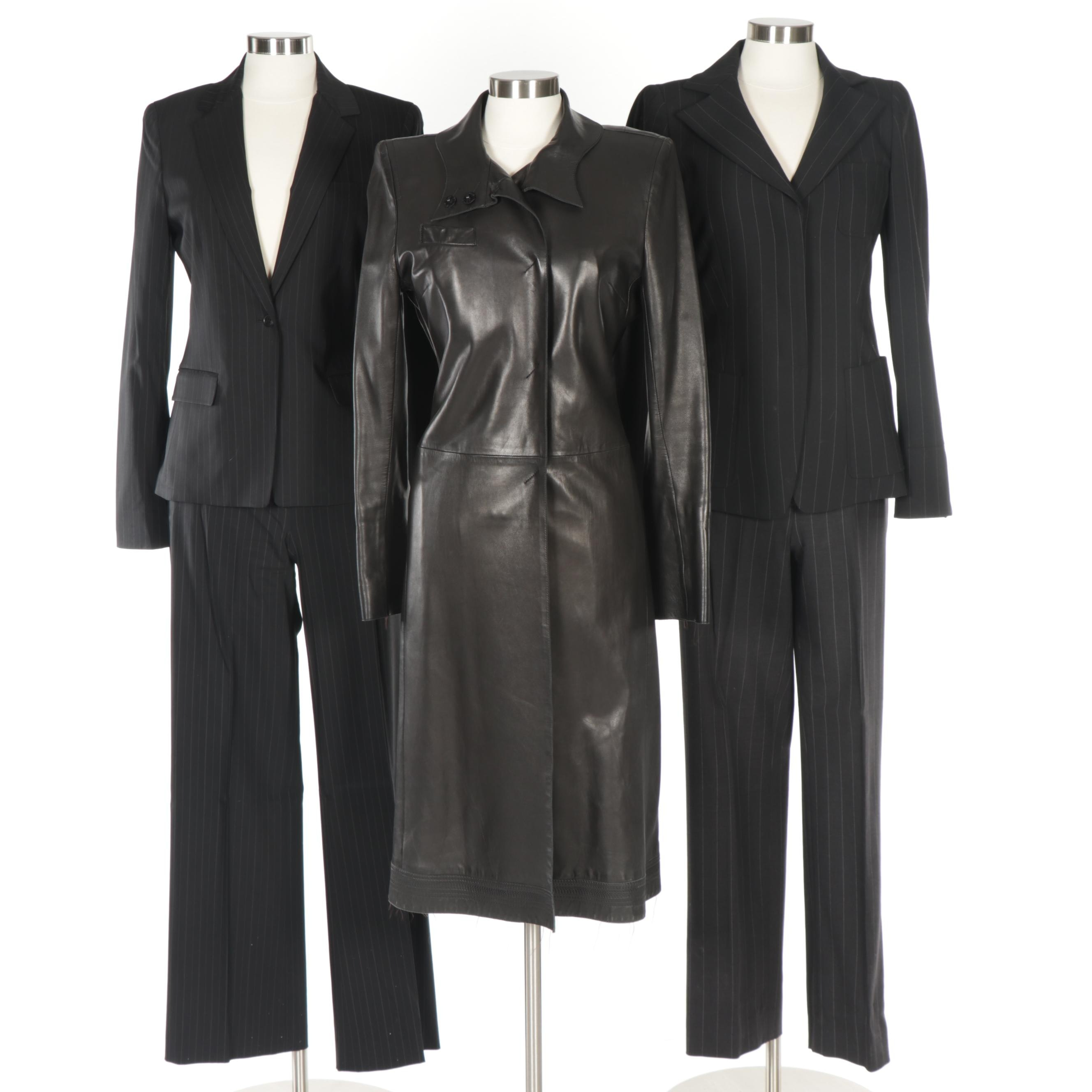 Women's Pinstripe Suits Including Tahari and Costume National Leather Coat