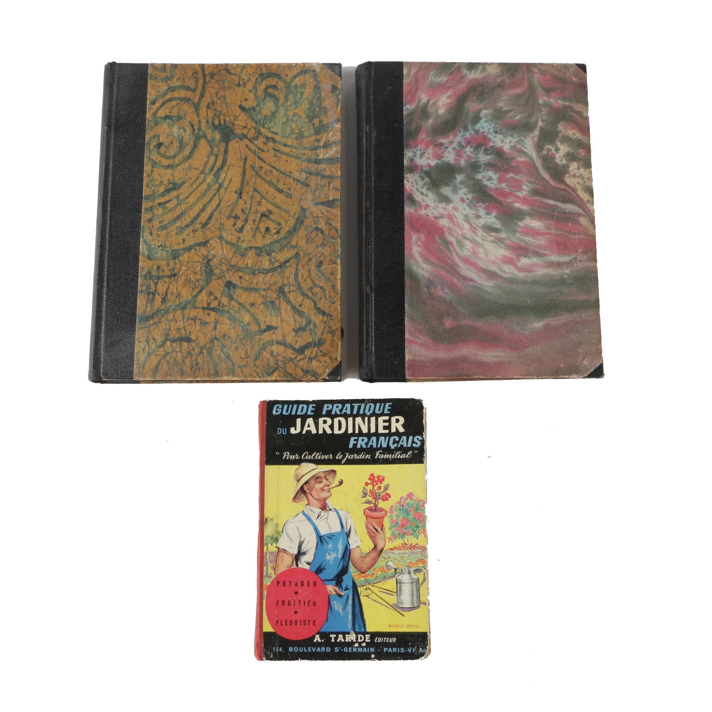 """Two Volumes of """"Kosmos Handweiser für Naturfreunde"""" with French Gardening Book"""