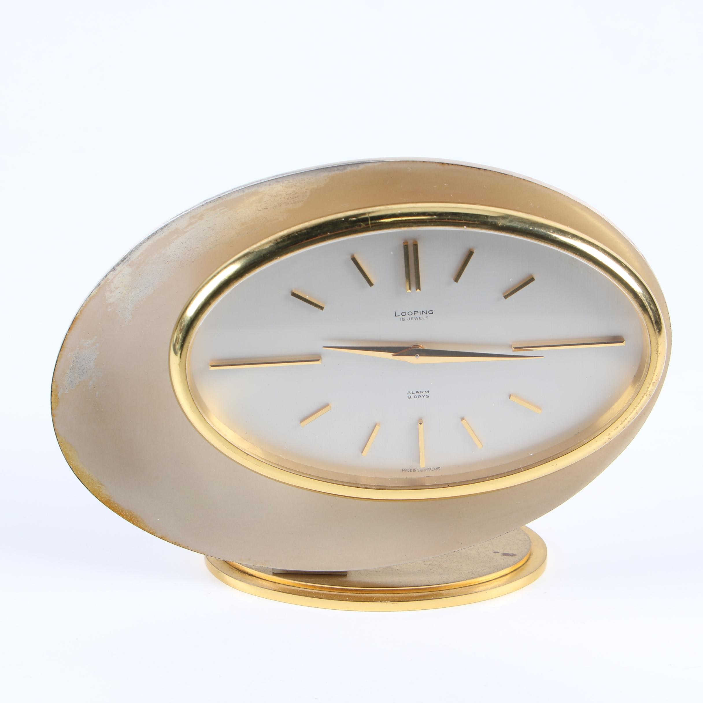 Looping 15 Jewel Eight Day Alarm Clock, Mid-Century
