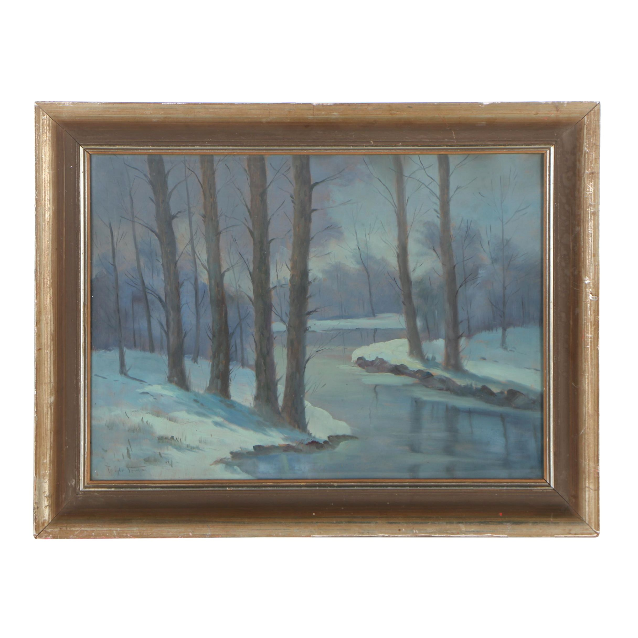 Mid 20th Century Oil Painting of a Winter Sylvan Landscape