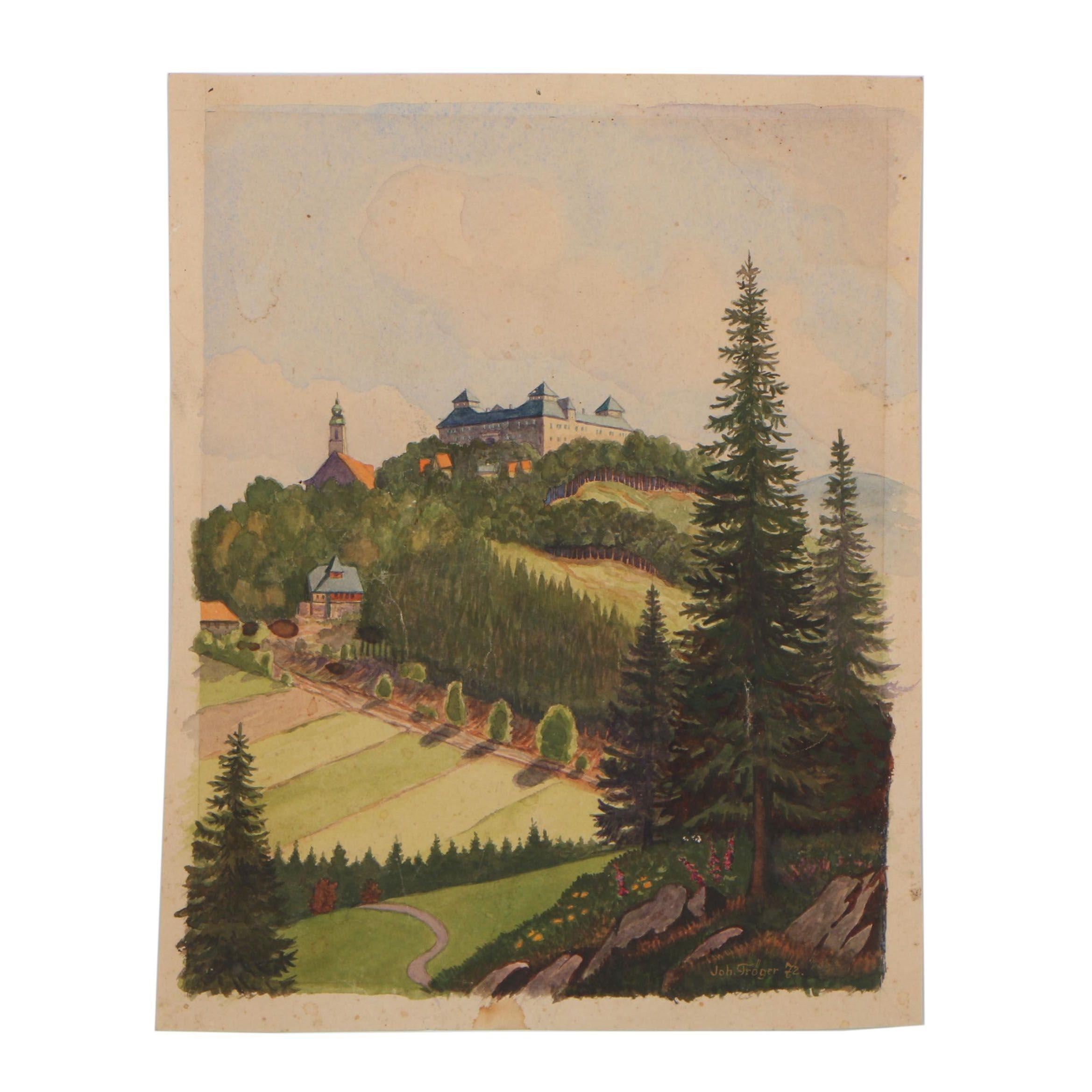 Johann Troger 1972 Watercolor Painting