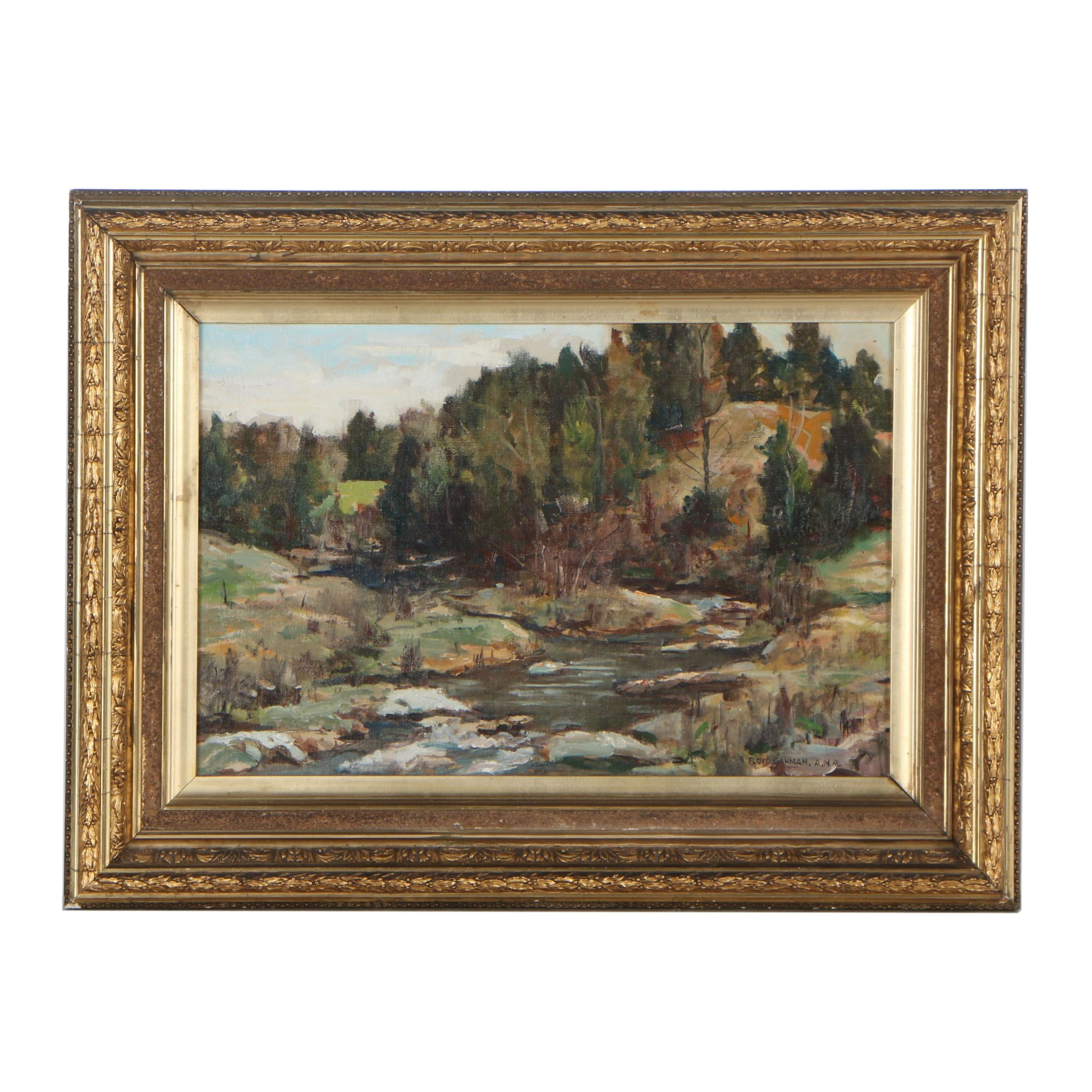 Floyd Gahman Landscape Oil Painting, Mid 20th Century