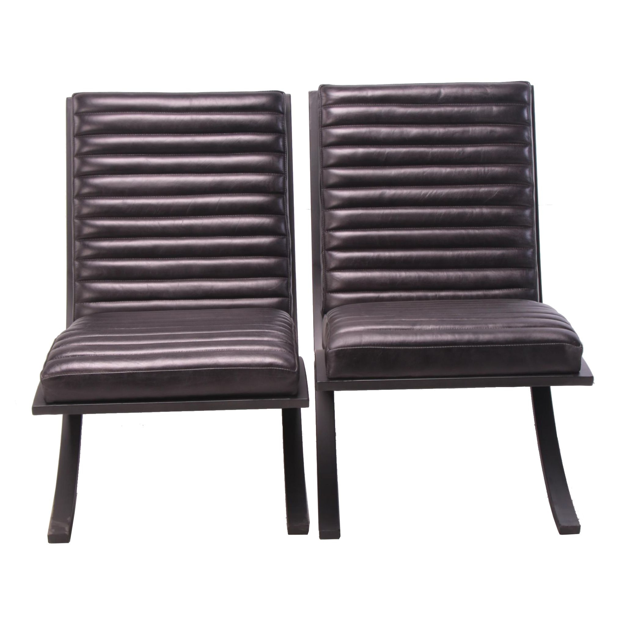 "Pair of Bauhaus Style ""Soho"" Channel Tufted Leather Lounge Chairs"