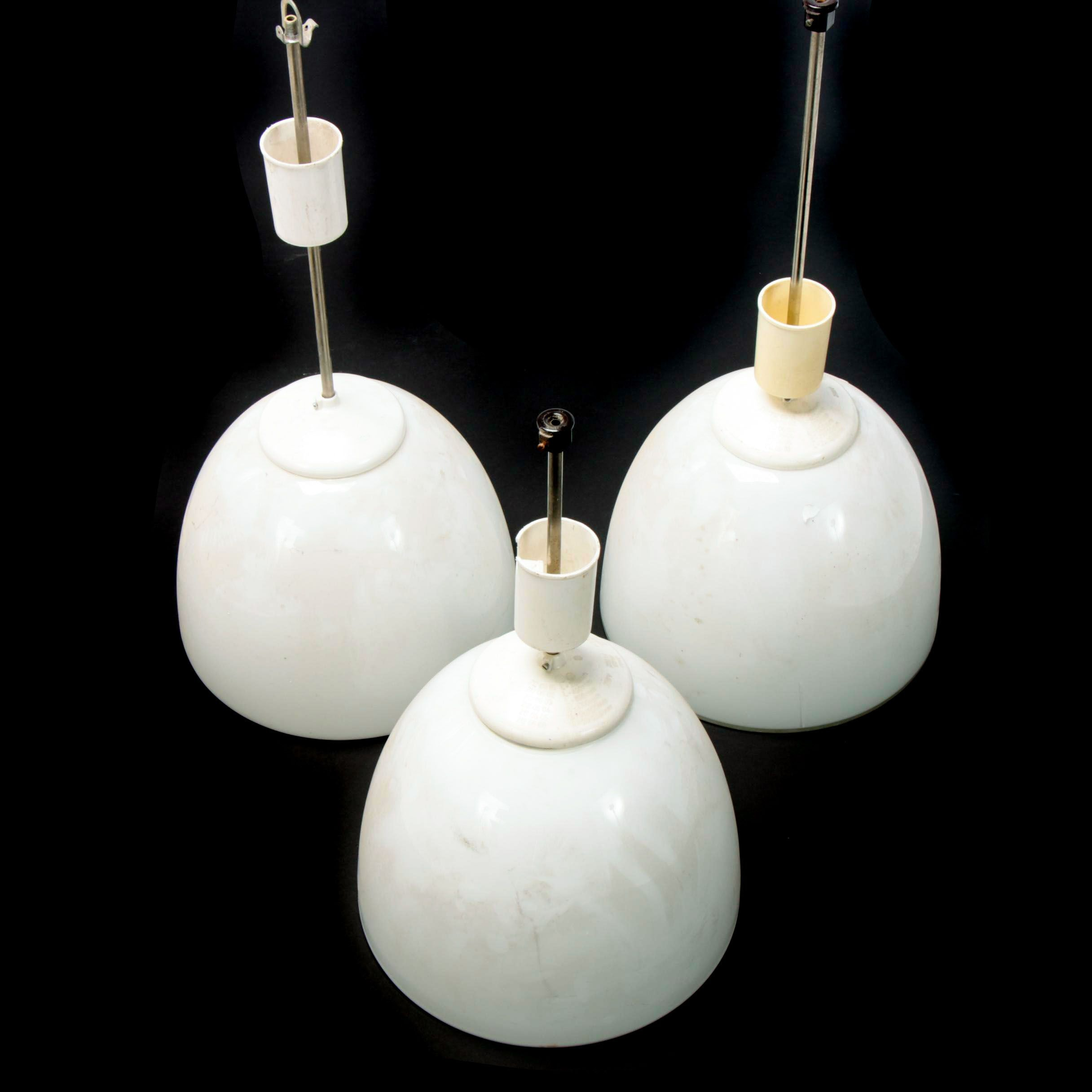 Industrial Opaline Glass Flower Pendant Lights, Late 20th Century