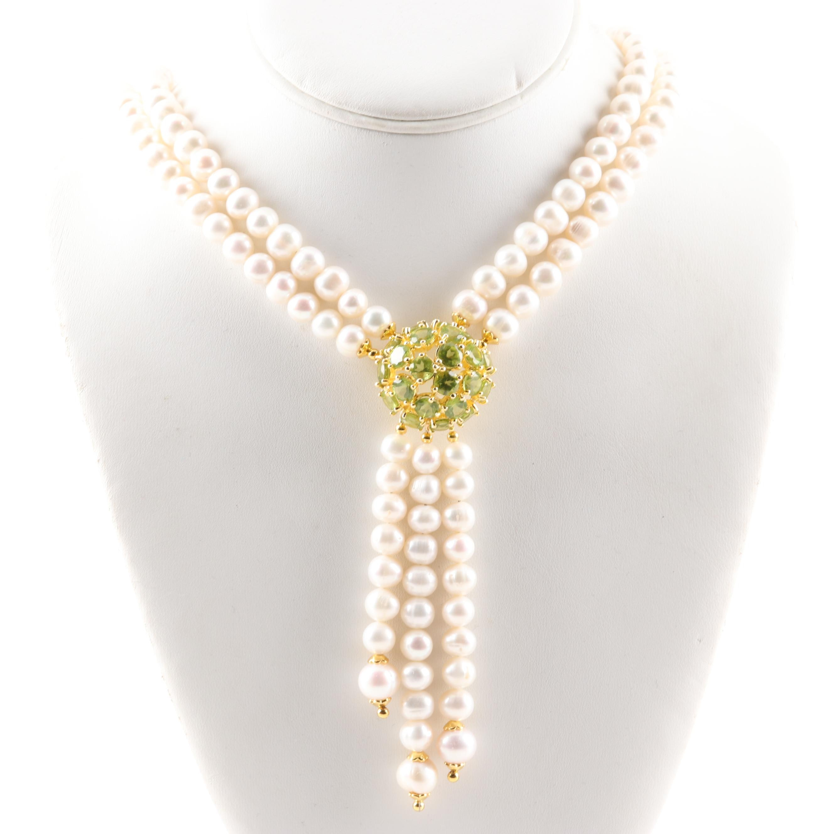 Gold Wash Sterling Silver Freshwater Pearl and Peridot Necklace