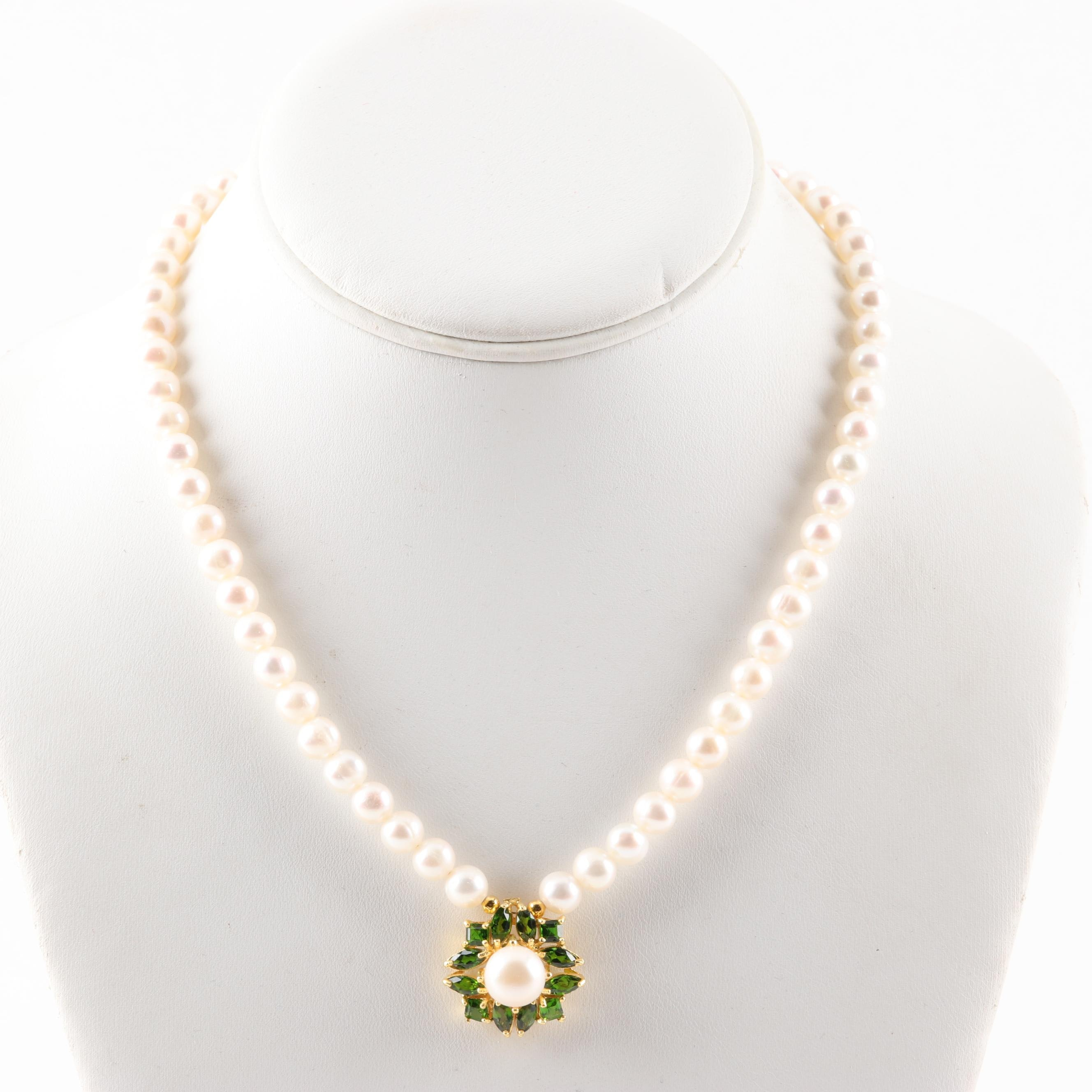 Gold Wash Sterling Silver Freshwater Pearl Strand with Diopside Pendant