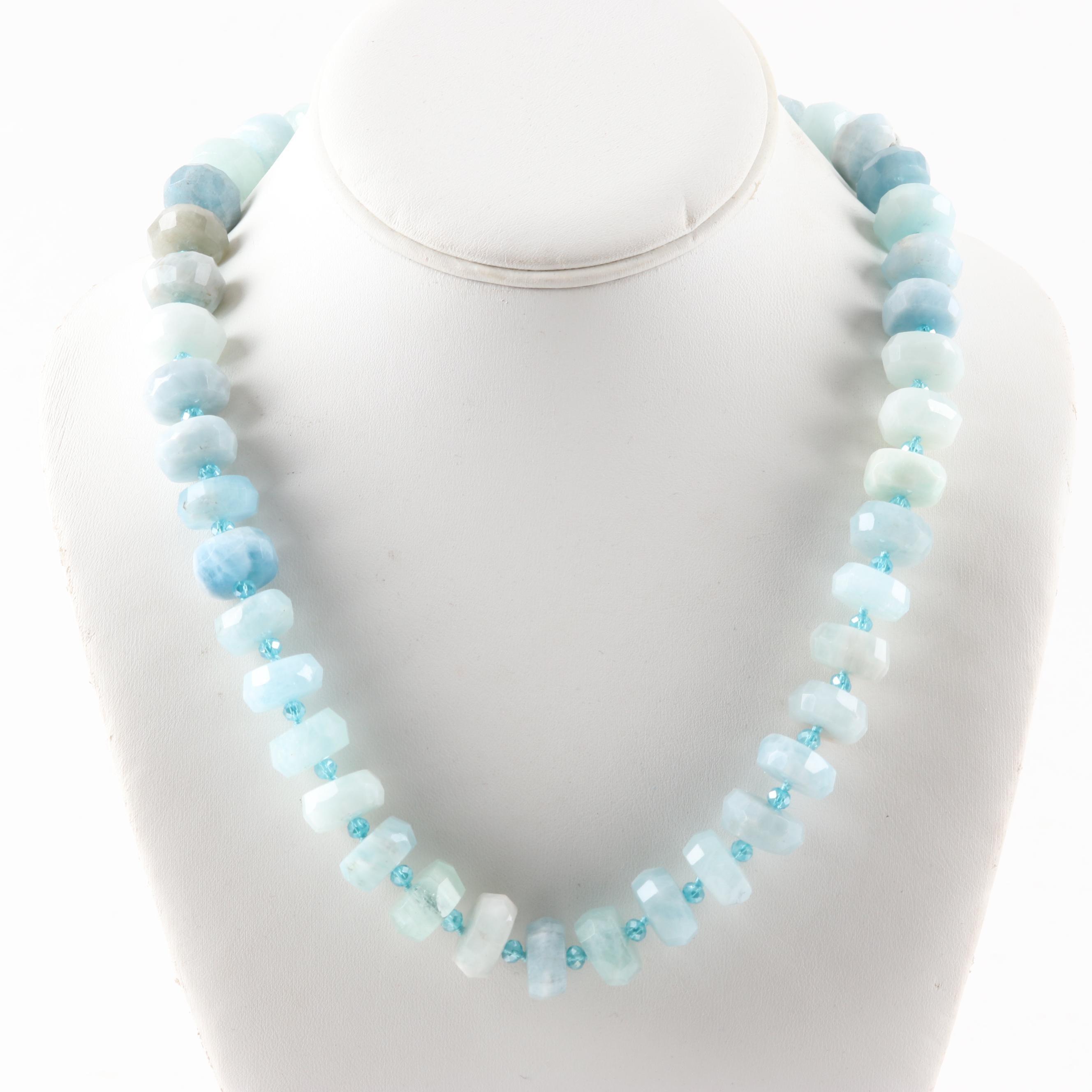 Aquamarine and Crystal Bead Strand