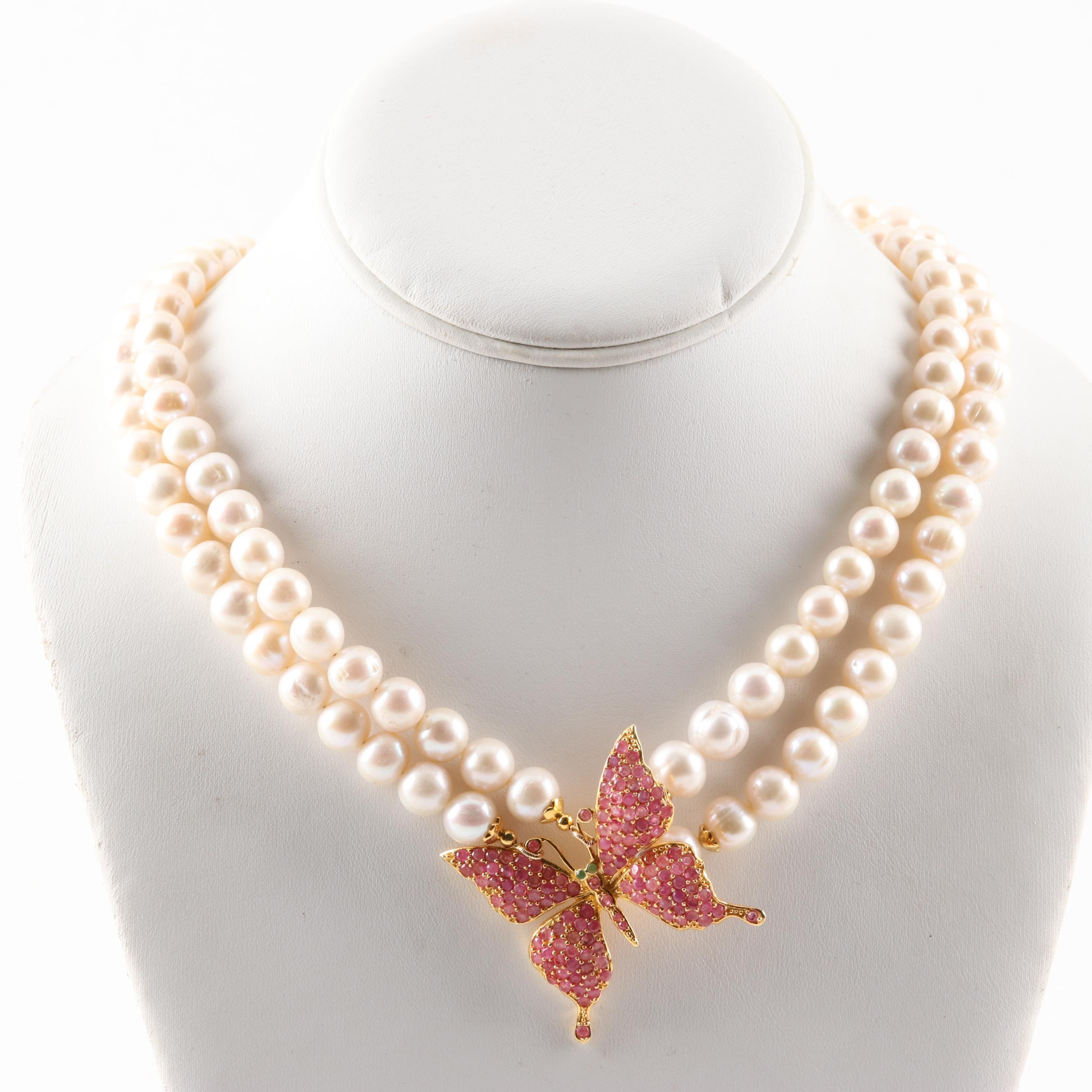 Gold Wash Over Sterling Silver Freshwater Pearl Strand with Rubies and Emeralds