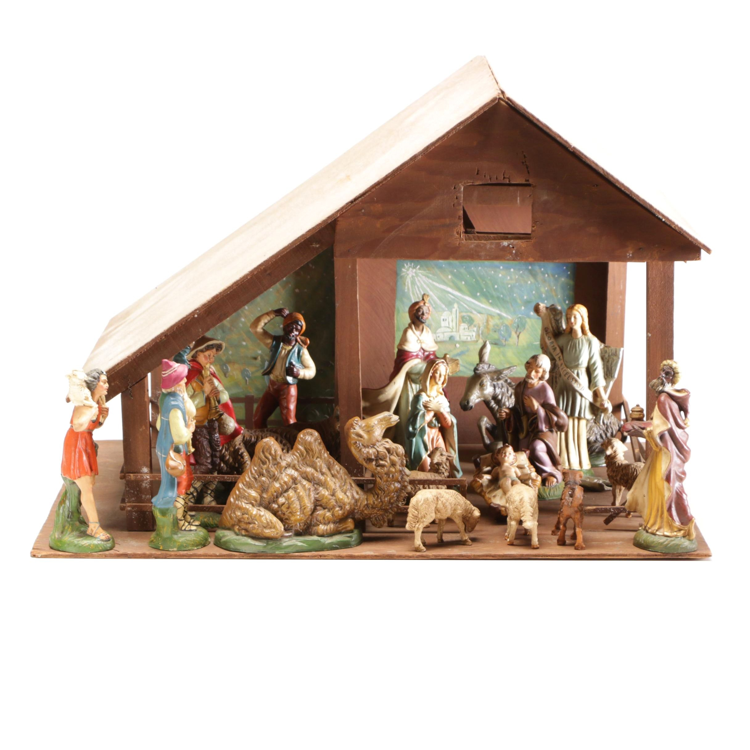 Italian Hand Painted Chalkware Nativity Set