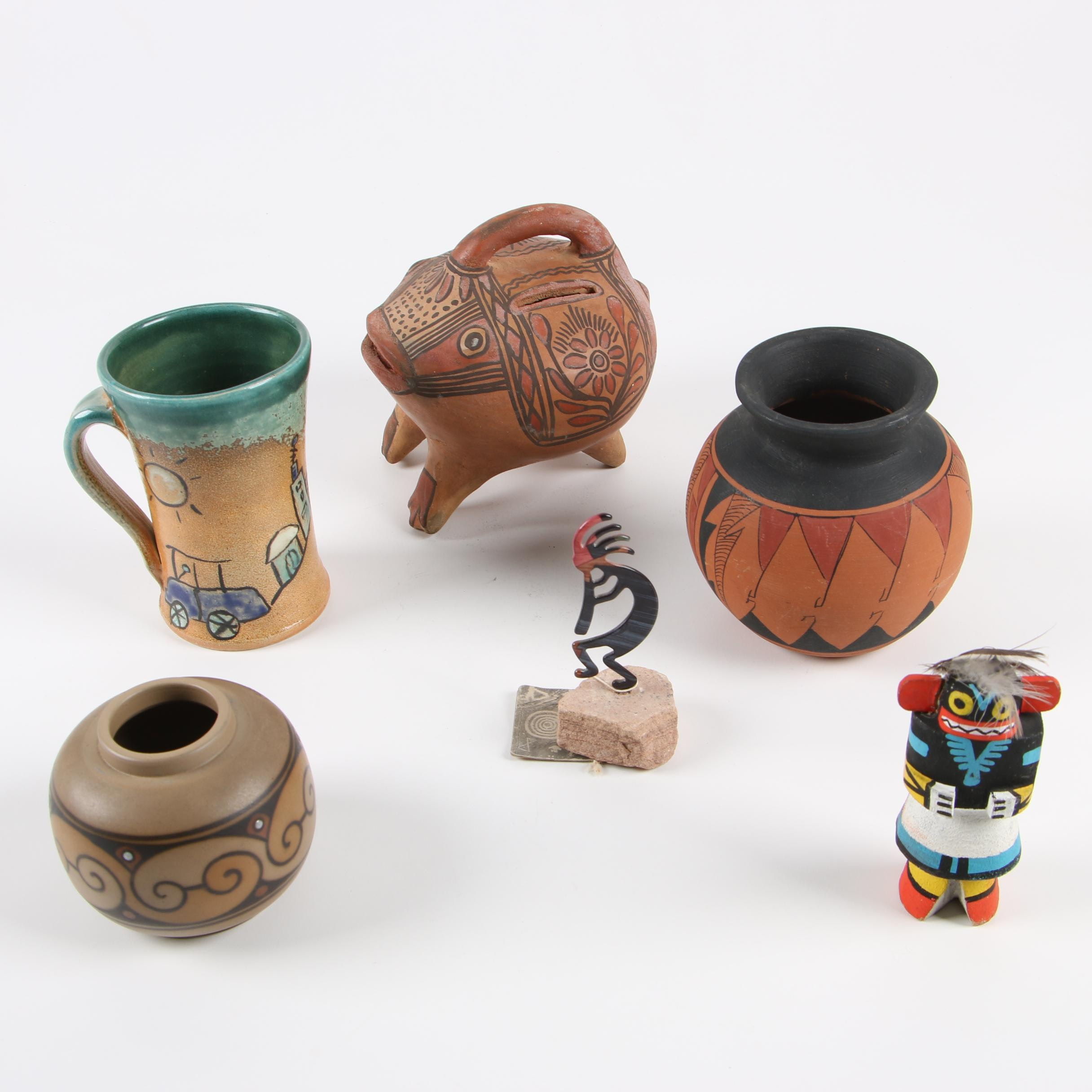 Hand-Painted Earthenware Vessels Featuring R. Galvan Mata Ortiz and Other Decor