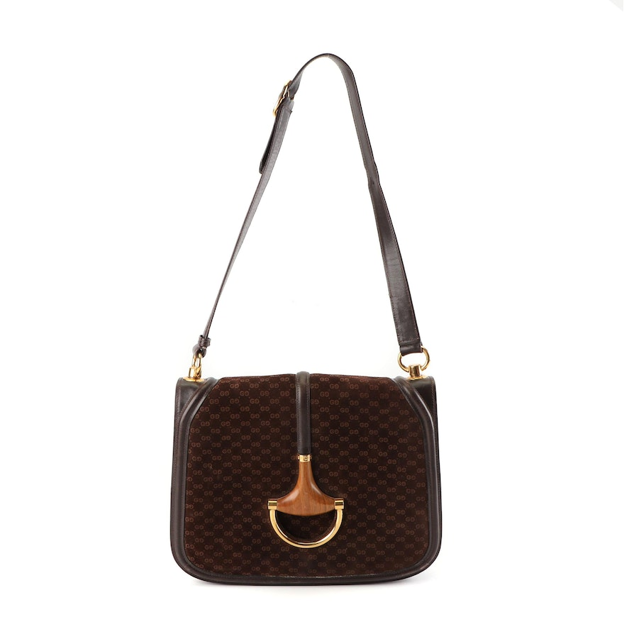 809e03018168 Gucci Mini GG Brown Suede Blondie Horsebit Shoulder Bag, Made in Italy,  Vintage